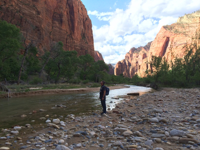 Me in complete wonder down in a canyon in Zion. Photo by Gary Breashears