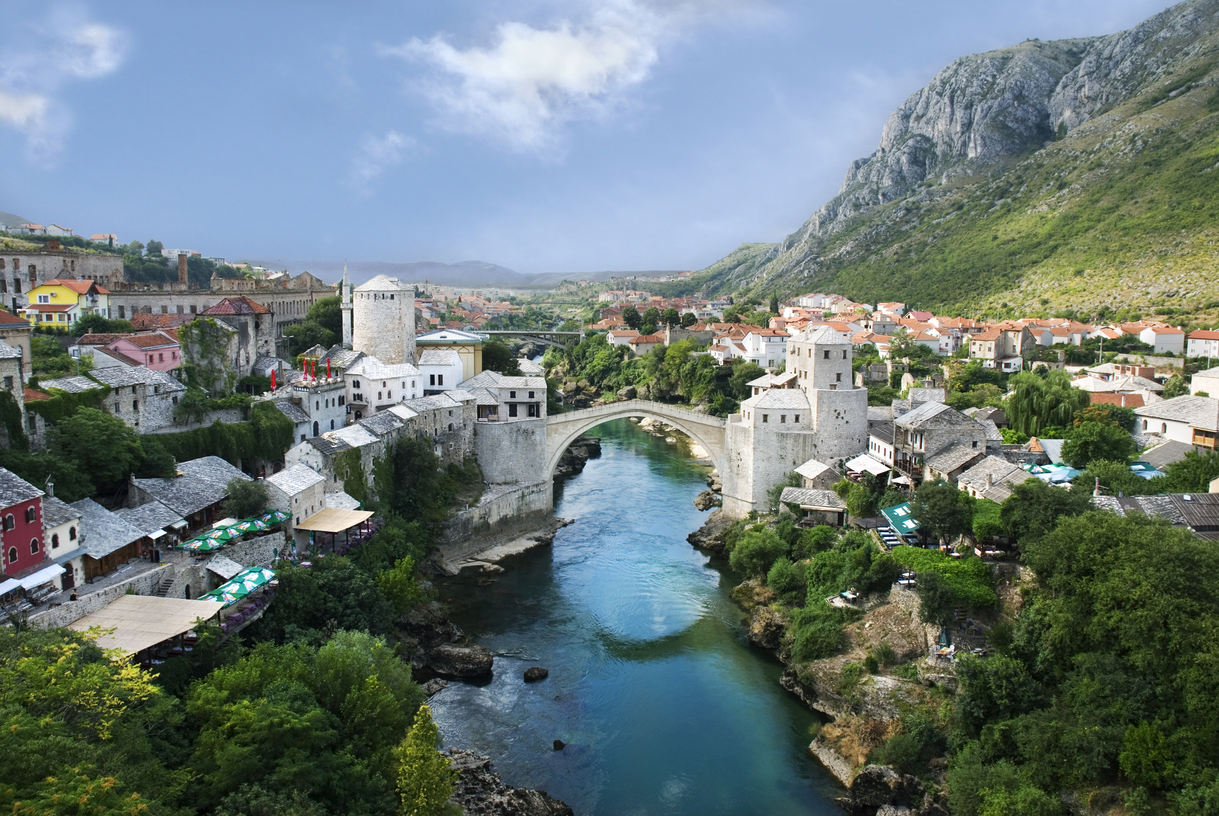 View of  Stari Most  (bridge) in the city of Mostar