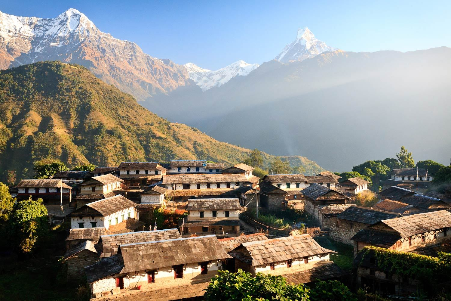 Mountains overlooking a village in  Nepal