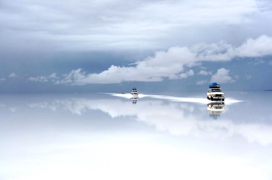 Salt flats  at Salar de Uyuni after a bout of rain