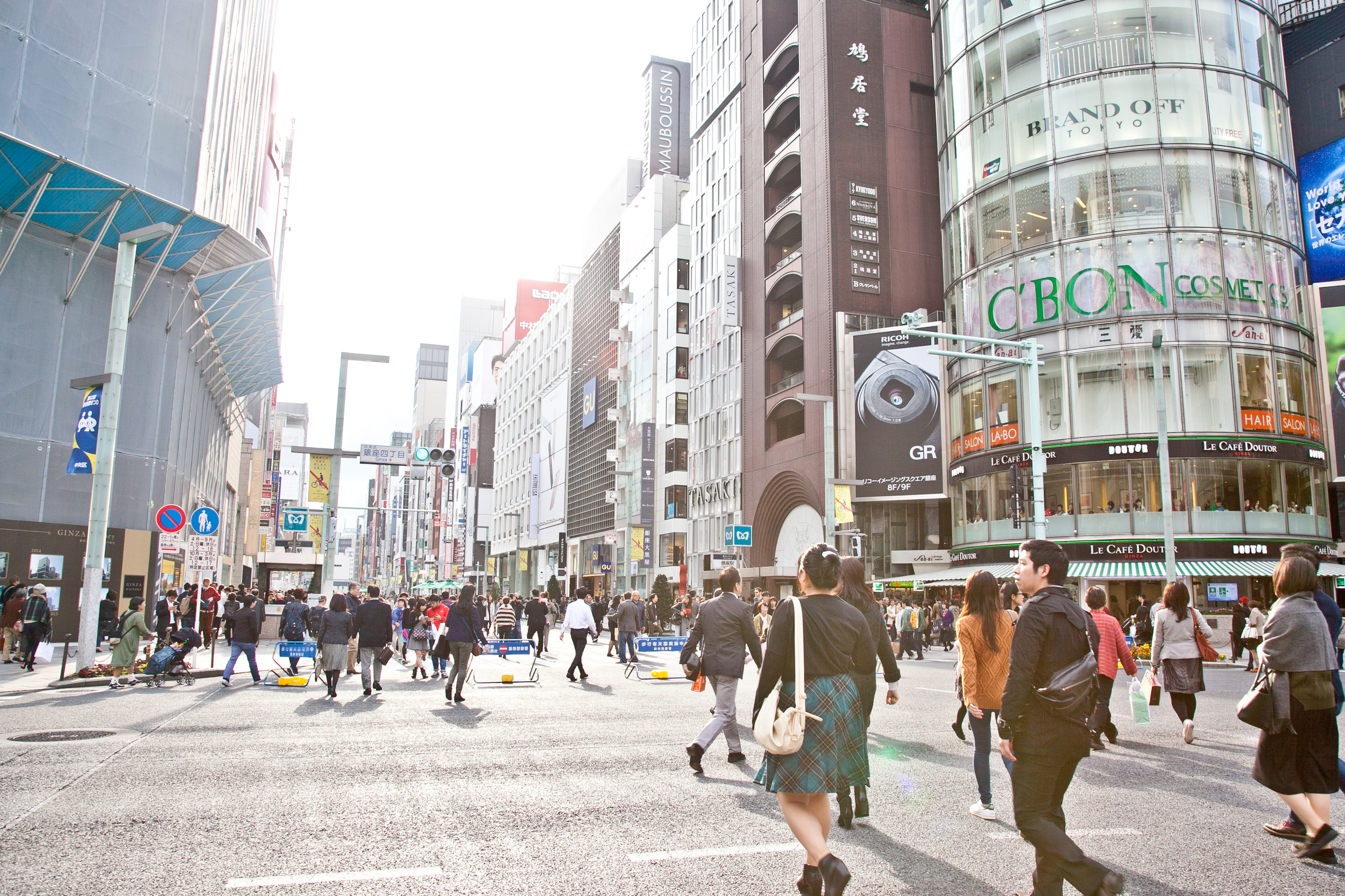 The streets of  Ginza , Tokyo's upscale shopping district