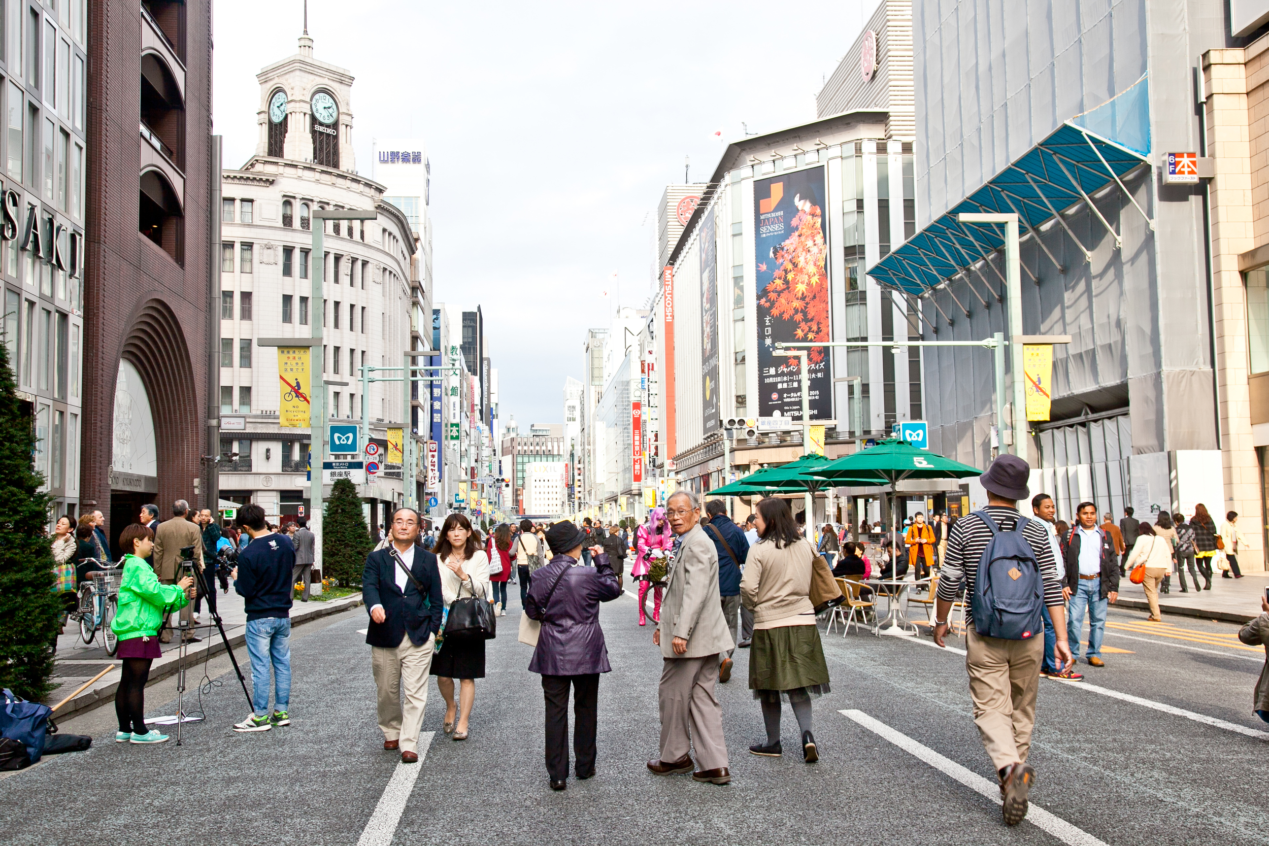 On special weekends, the streets of Ginza are closed to traffic, allowing shoppers to wander the streets freely