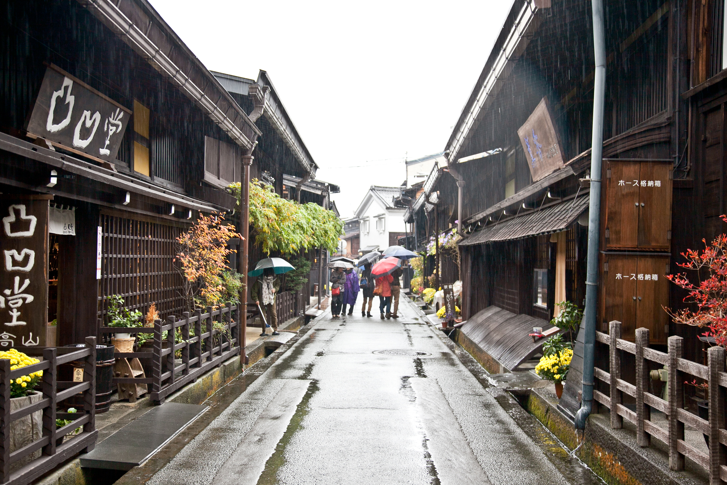 The traditional homes and stores of  Takayama  all share a distinct brown color and regional architecture