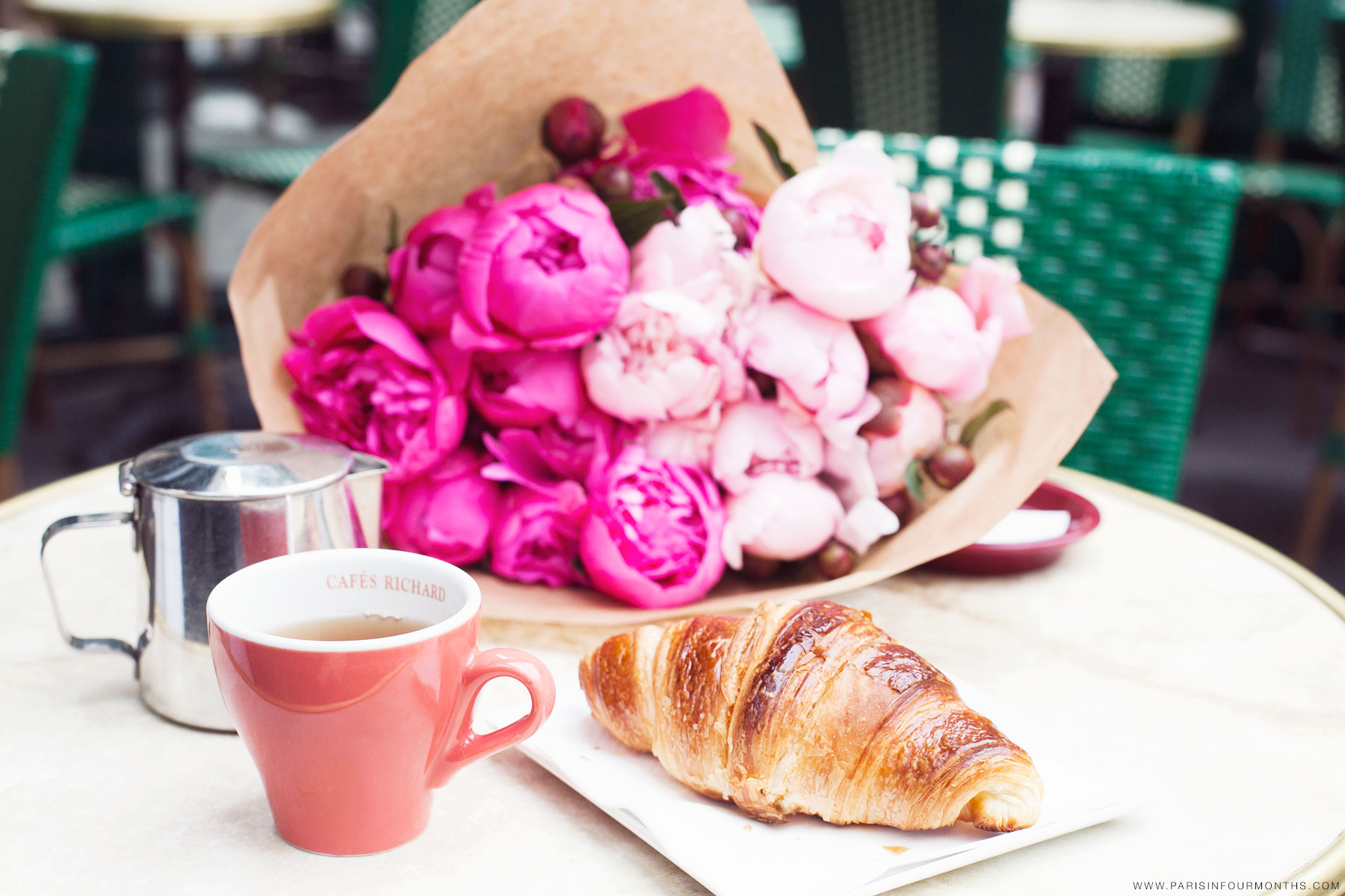 Coffee and croissants via Paris in Four Months