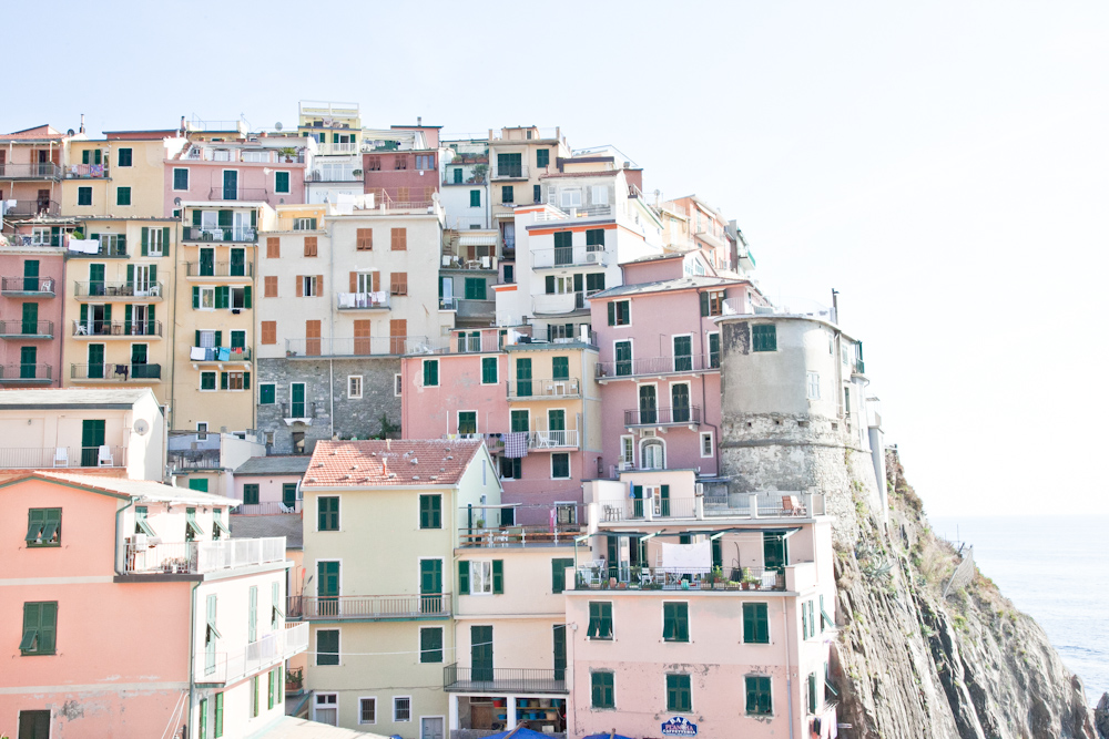 The pastel-colored houses in Manarola