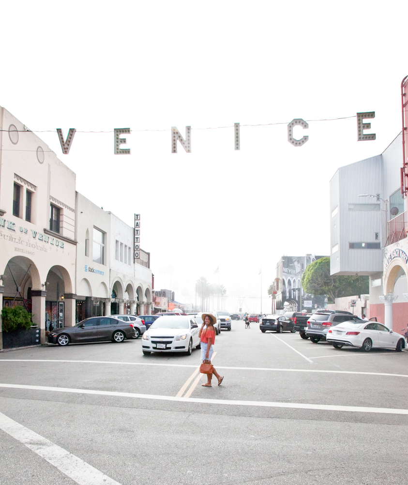 The famous Venice sign on the corner of   Pacific Ave & Windward Ave