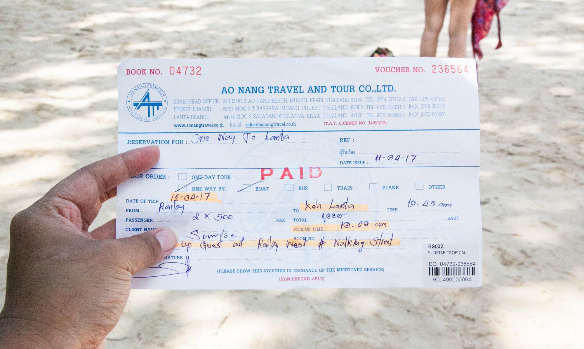 Passenger ferry ticket via Ao Nang Princess