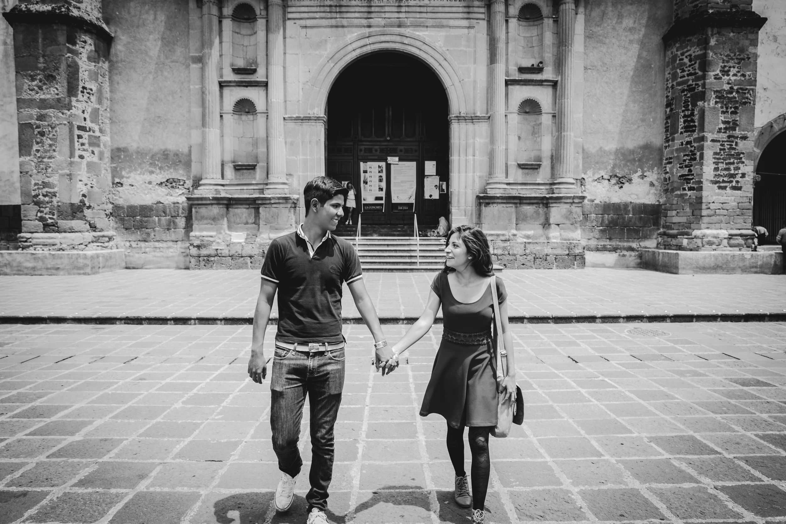 Mariana and Abraham enjoying a walk outside of the Parish of San Juan Bautista, one of the three oldest Parish Churches in Mexico City.