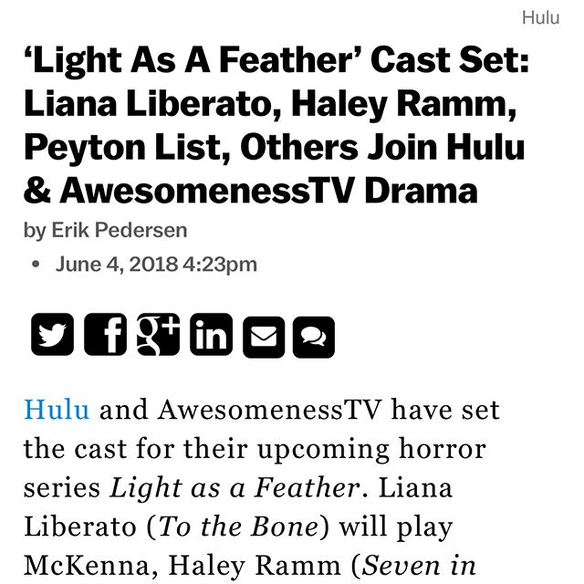 Thankful and honored to be working with this phenomenal cast on LIGHT AS A FEATHER. Fierce. 💥@awesomenesstv @hulu @lianaliberato @peytonlist @halesbells @dylansprayberry @itsjordanjr @ajionaalexus @itsdorian @briannetju