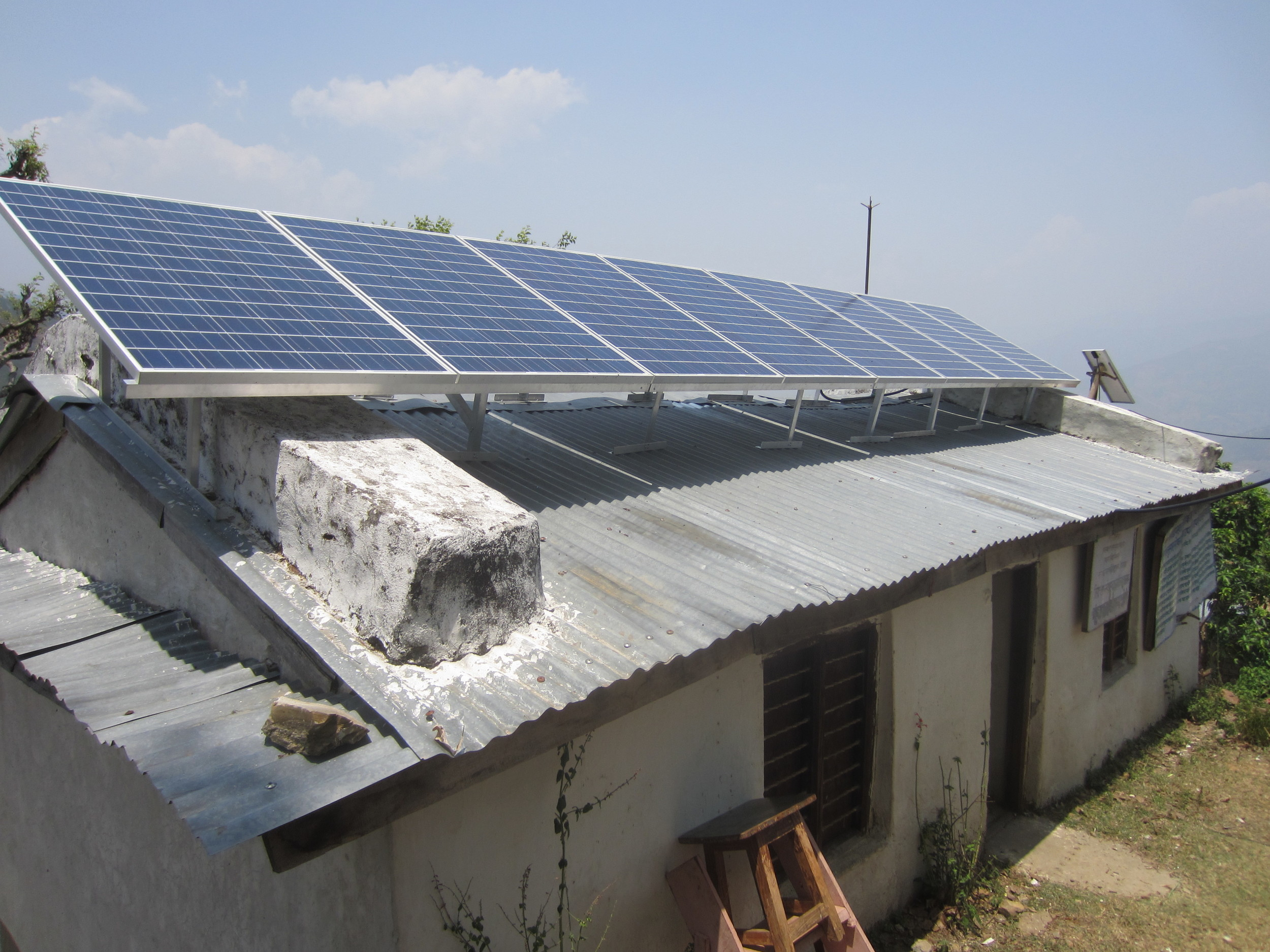 The first completed solar system at Lungra Health Clinic in Achham, Nepal
