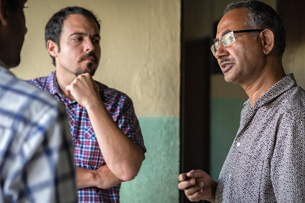 The SunFarmer Nepal team meets with SOS Children's Village admin incharge in Joripati, Nepal.