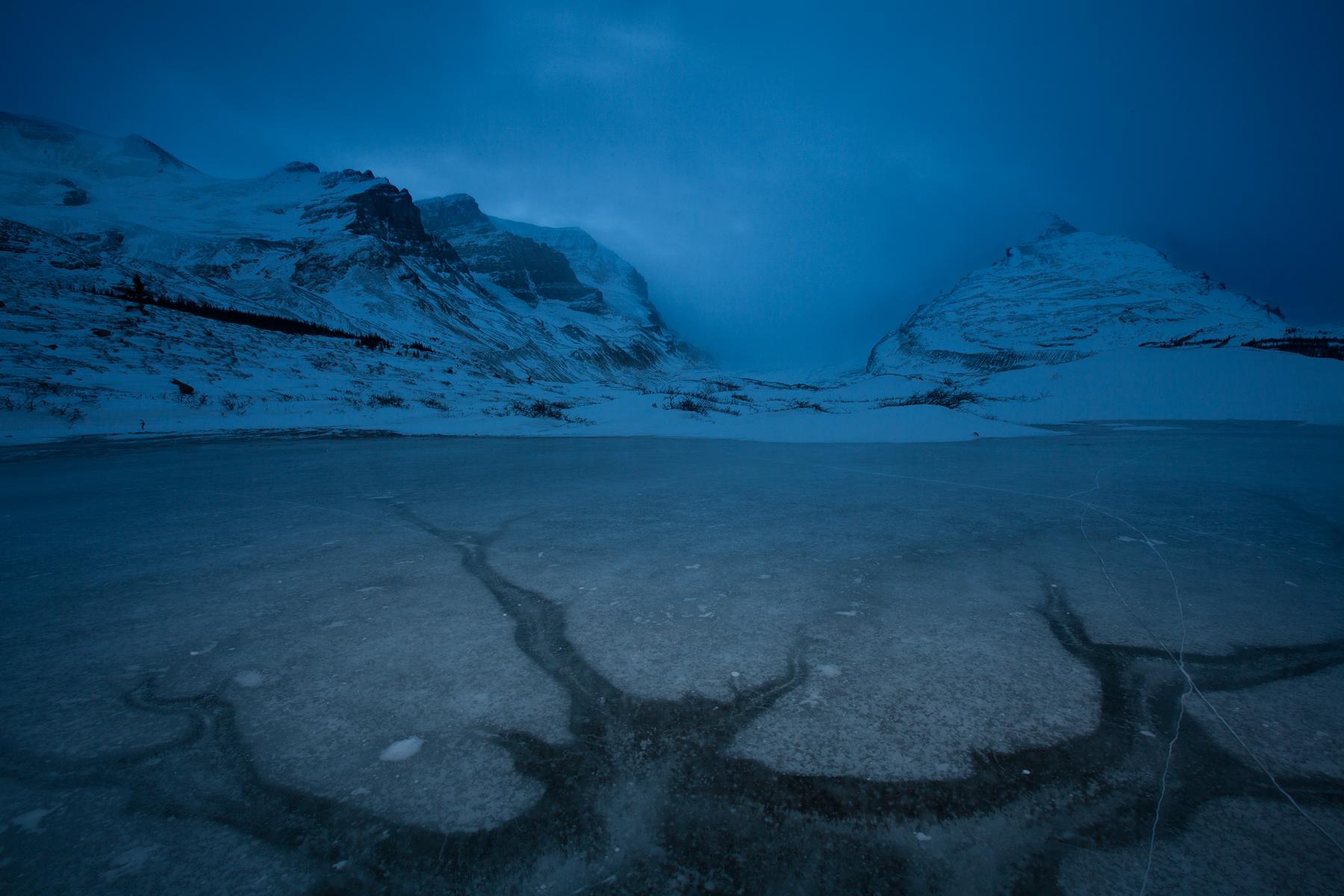 Dusk sets at a frozen pond in Jasper National Park, Canada.  Image ©Connor Stefanison