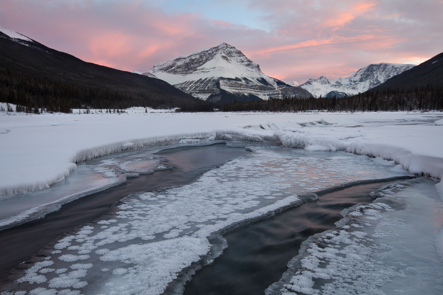 Sunset along the Icefields Parkway in Jasper National Park, Canada.  Image ©Connor Stefanison