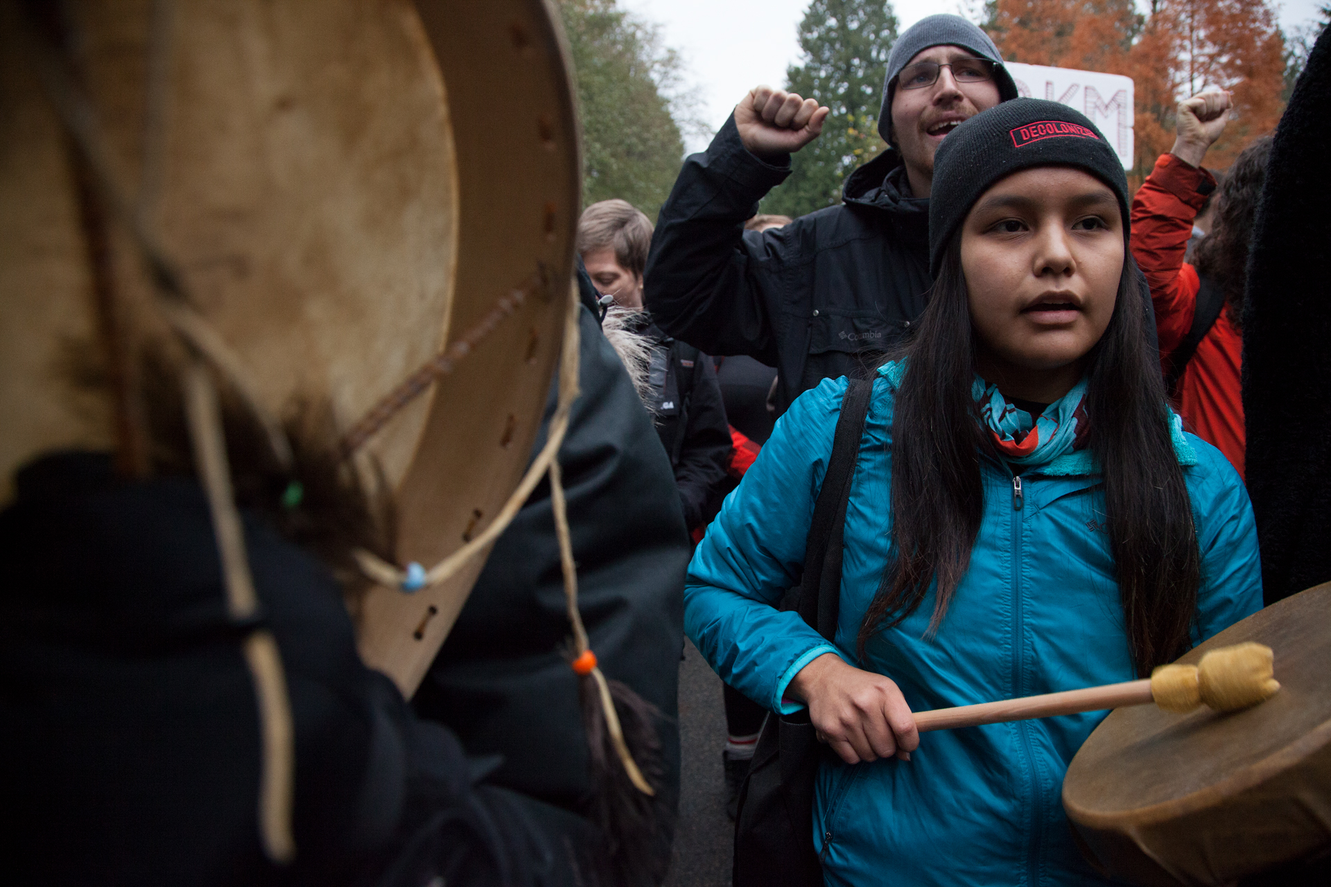 A young First Nations girl protests against Kinder Morgan.