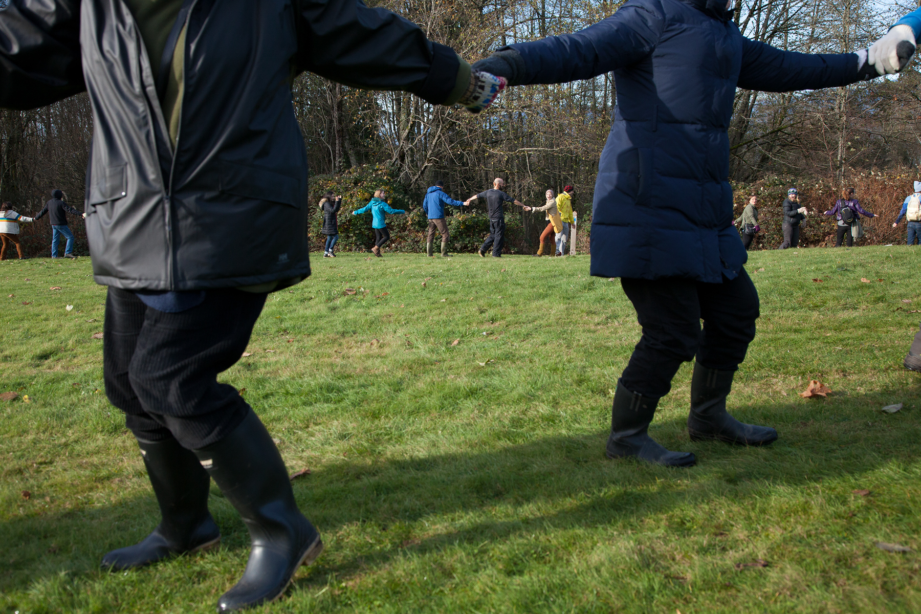 Protestors dance in joy as Kinder Morgan runs out of time to survey and leaves the mountain.