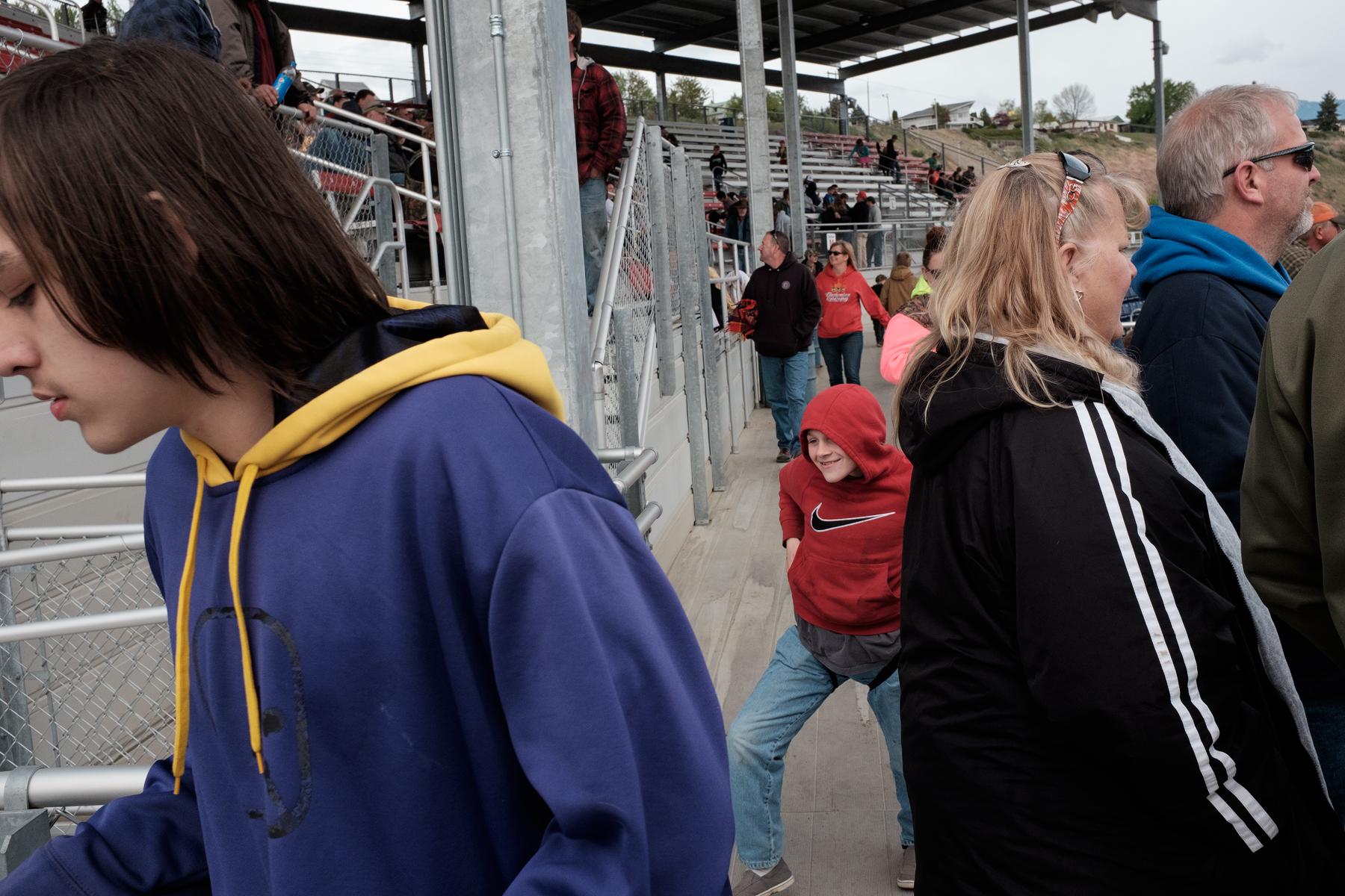 Exiting the stadium.  Omak, Washington, USA.  Image ©Connor Stefanison