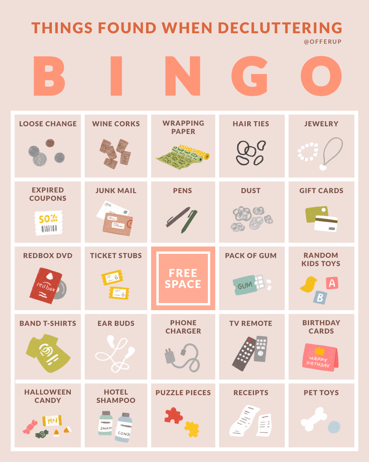 'Spring Cleaning' bingo board (April, 2019)