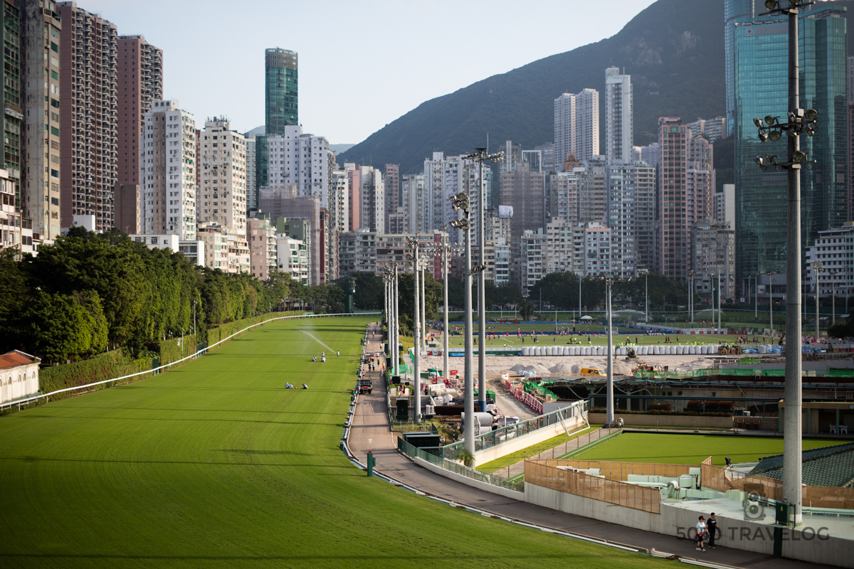 The Hong Kong Jockey Club. Notice the hockey and soccer fields place in the middle of the track