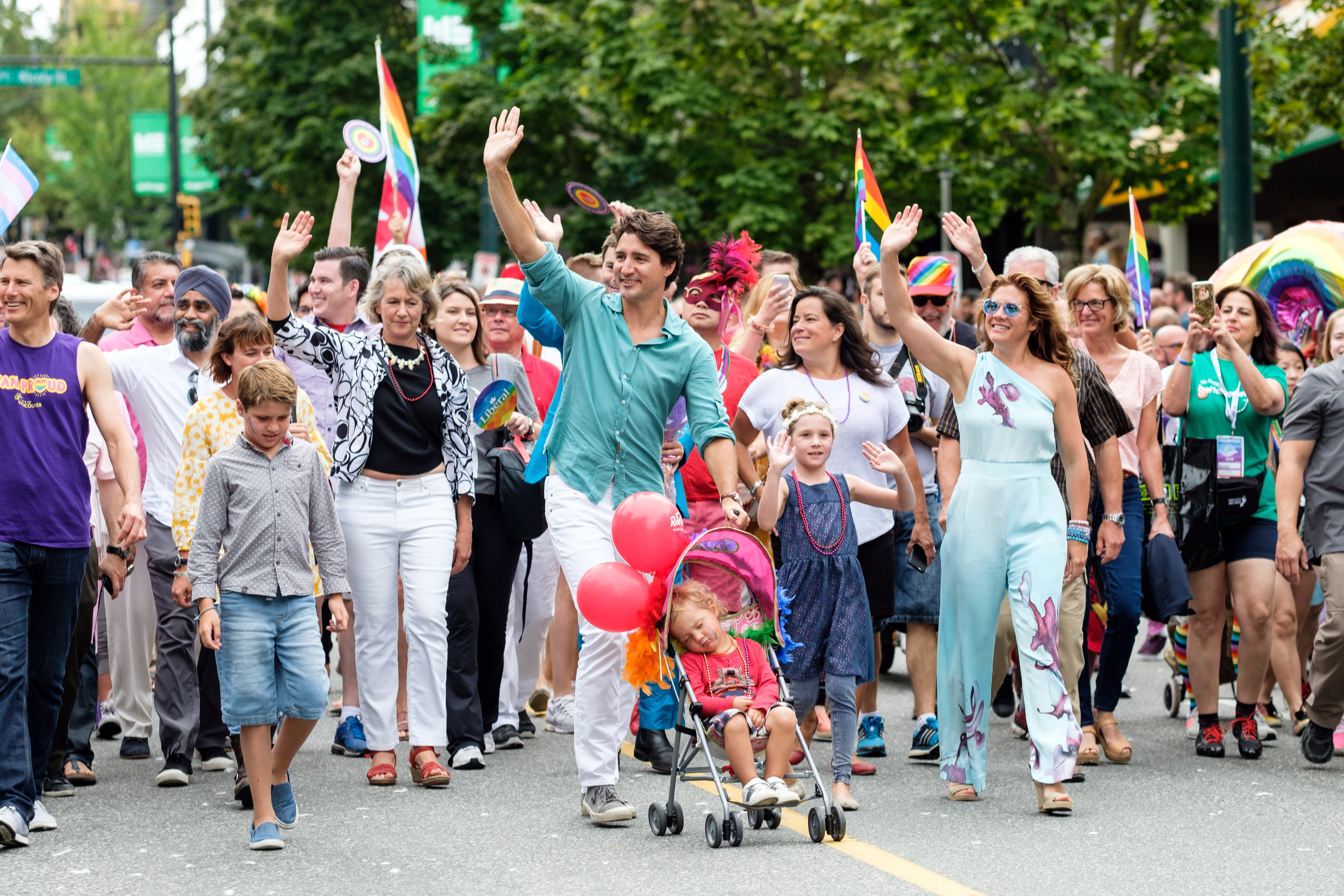 A great moment in Vancouver, Canada as Prime Minister Justin Trudeau and family marched for LGBTQ rights at the Pride Parade.