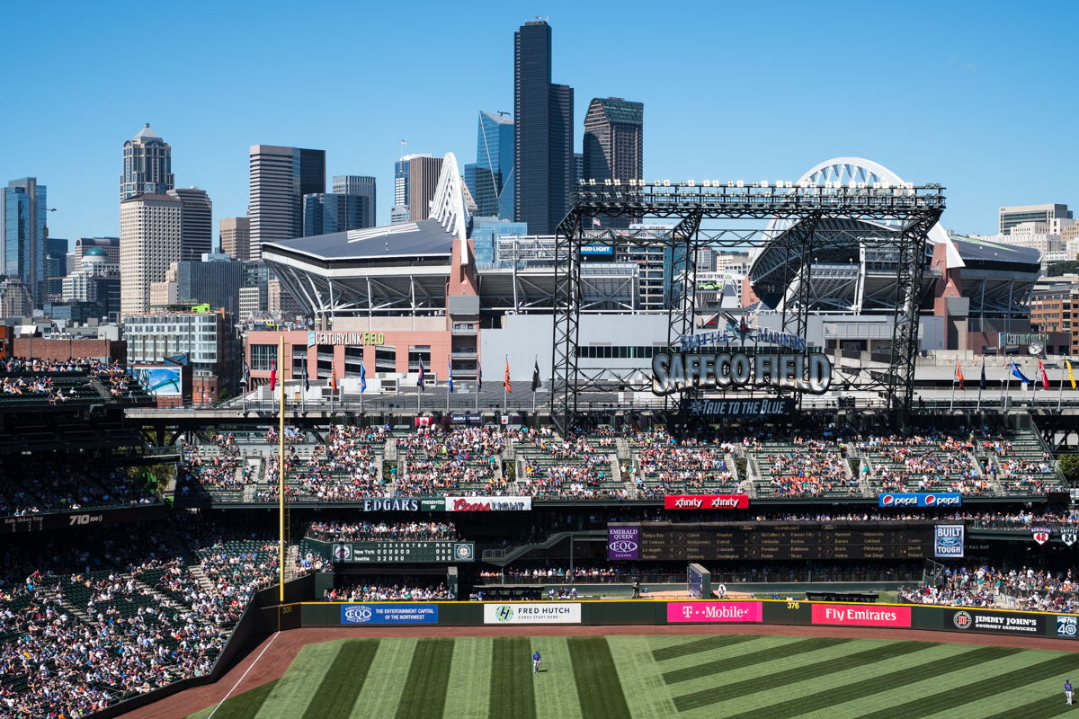 Mariners Baseball at Safeco Field in Seattle, the pitch and spectators and Seattle skyline