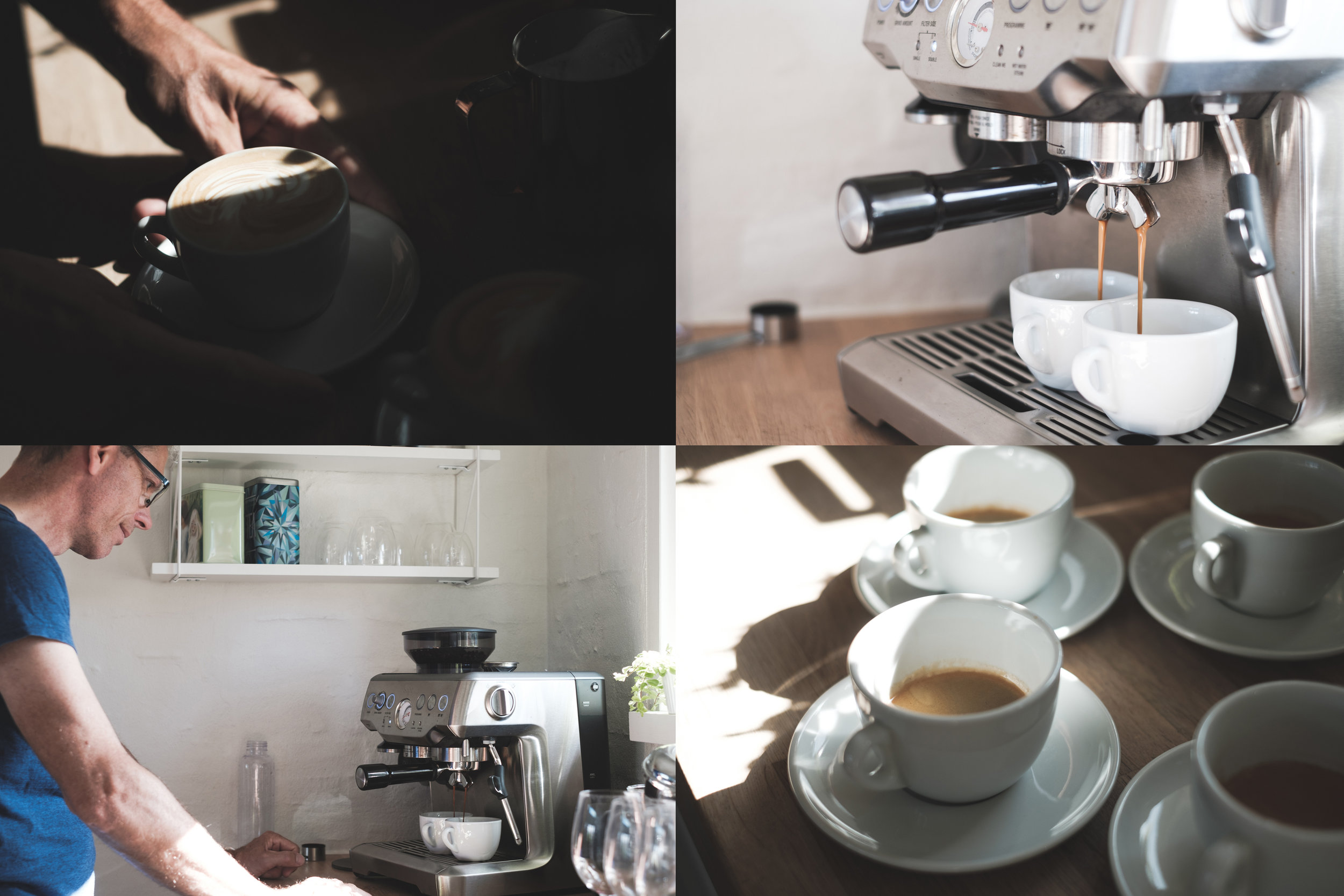 Master Barista, Kristian (Simon's dad), roasts his own coffee beans and serves wickedly good cappuccinos, lattes, and americanos