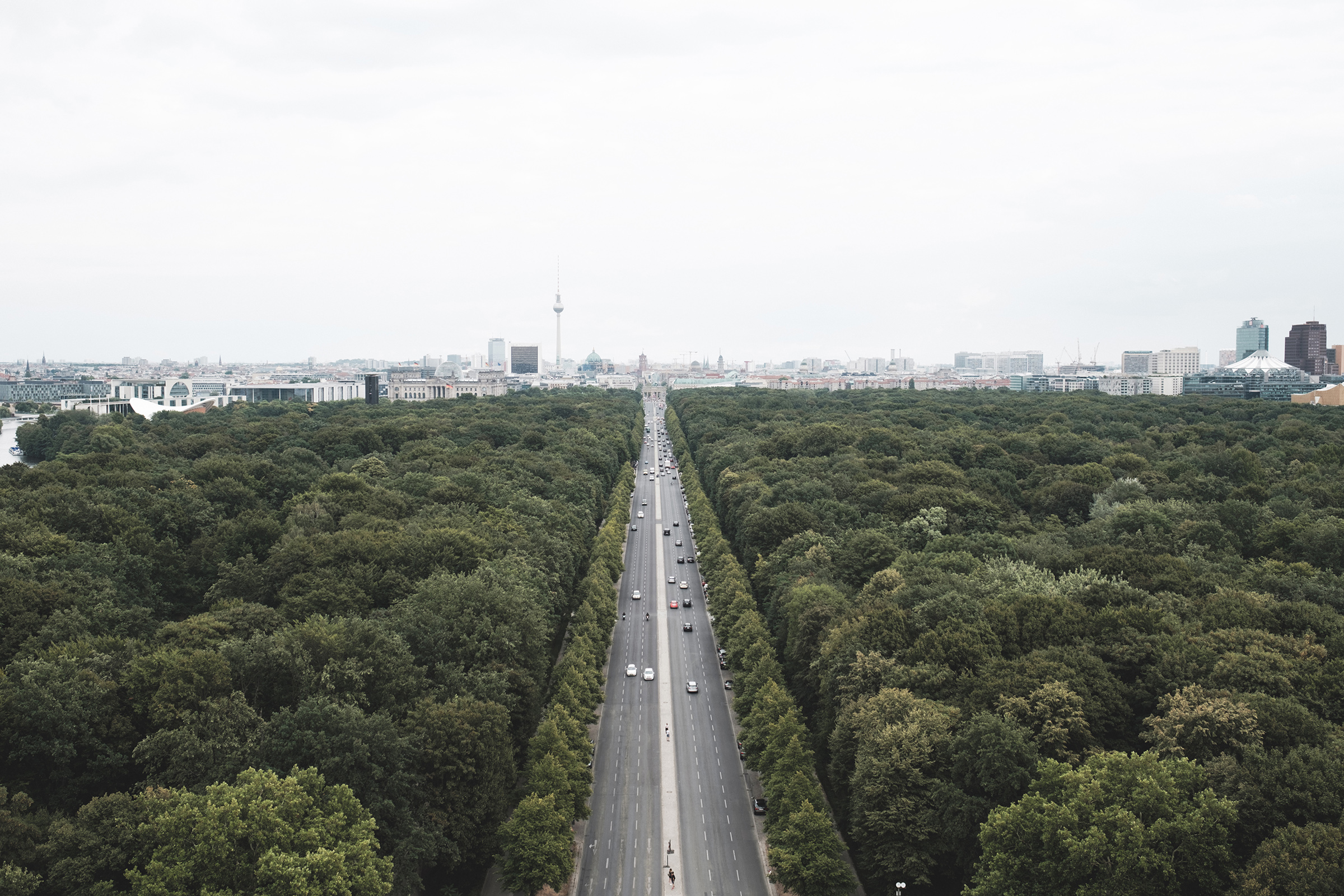 View of Großer Tiergarten Park and downtown Berlin from the Victory Column. The 67m column (283 steps) commemorates the Prussian-Danish war in 1864.