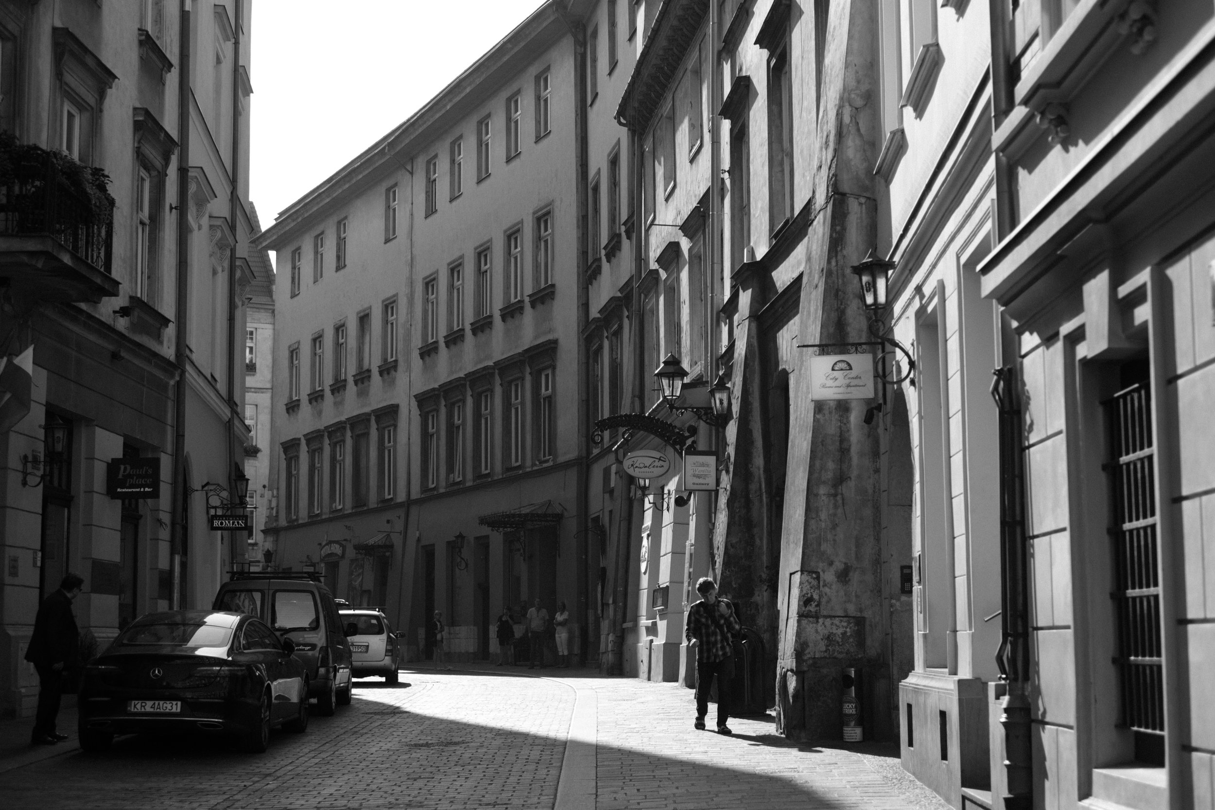 Morning scene in a narrow street of the Old Town in Krakow Poland