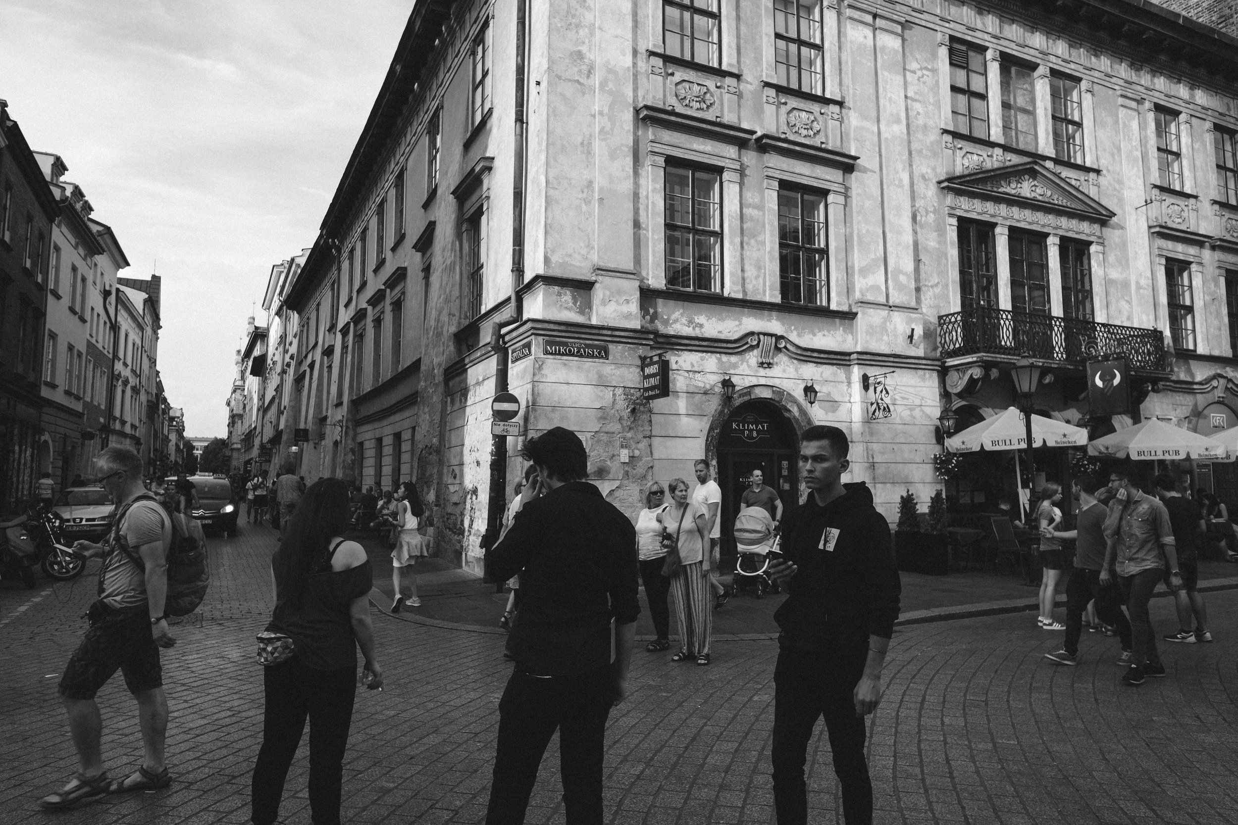 street photography in the old town of Krakow, Poland