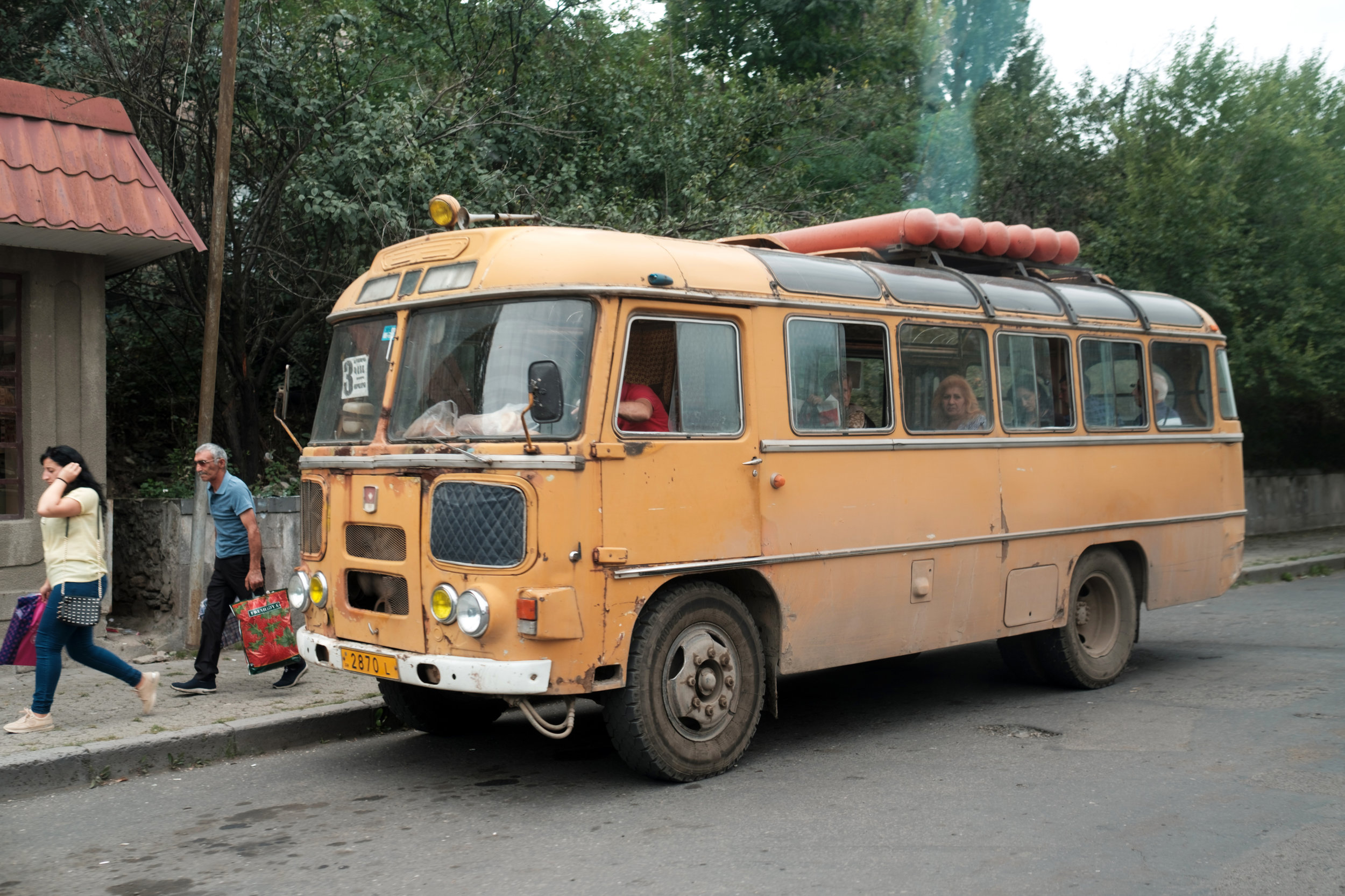 A commuter bus in Northern Armenia