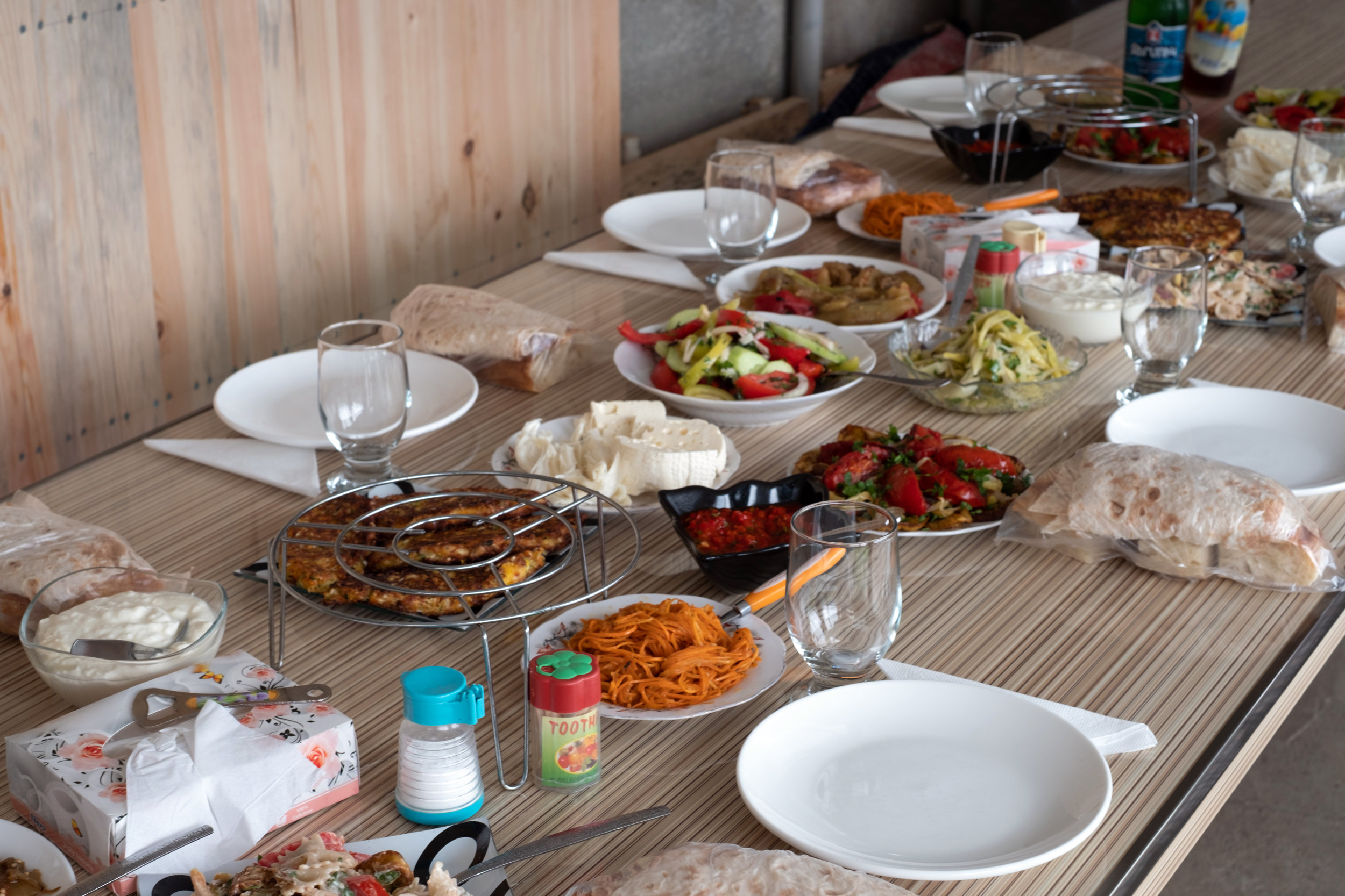 A traditional Armenian lunch served in Northern Armenia