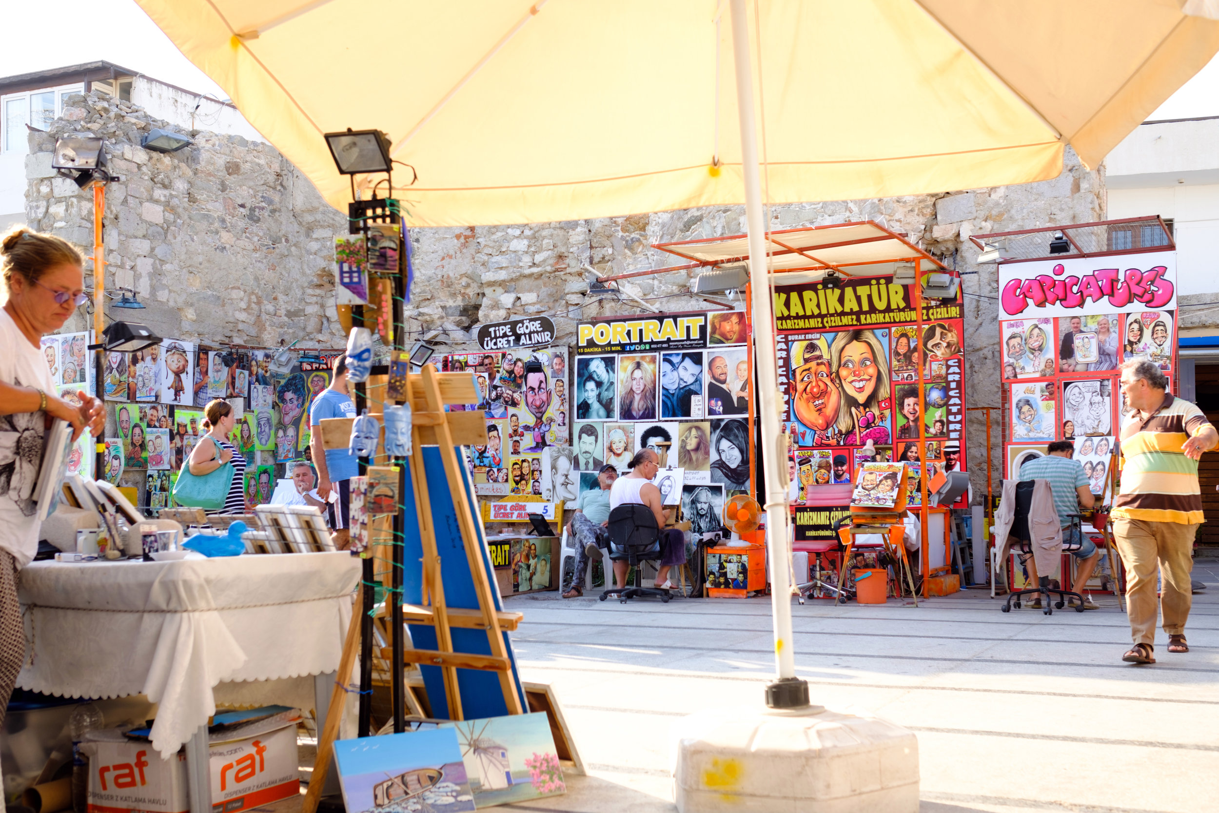A colourful arts and craft market in Bodrum Turkey