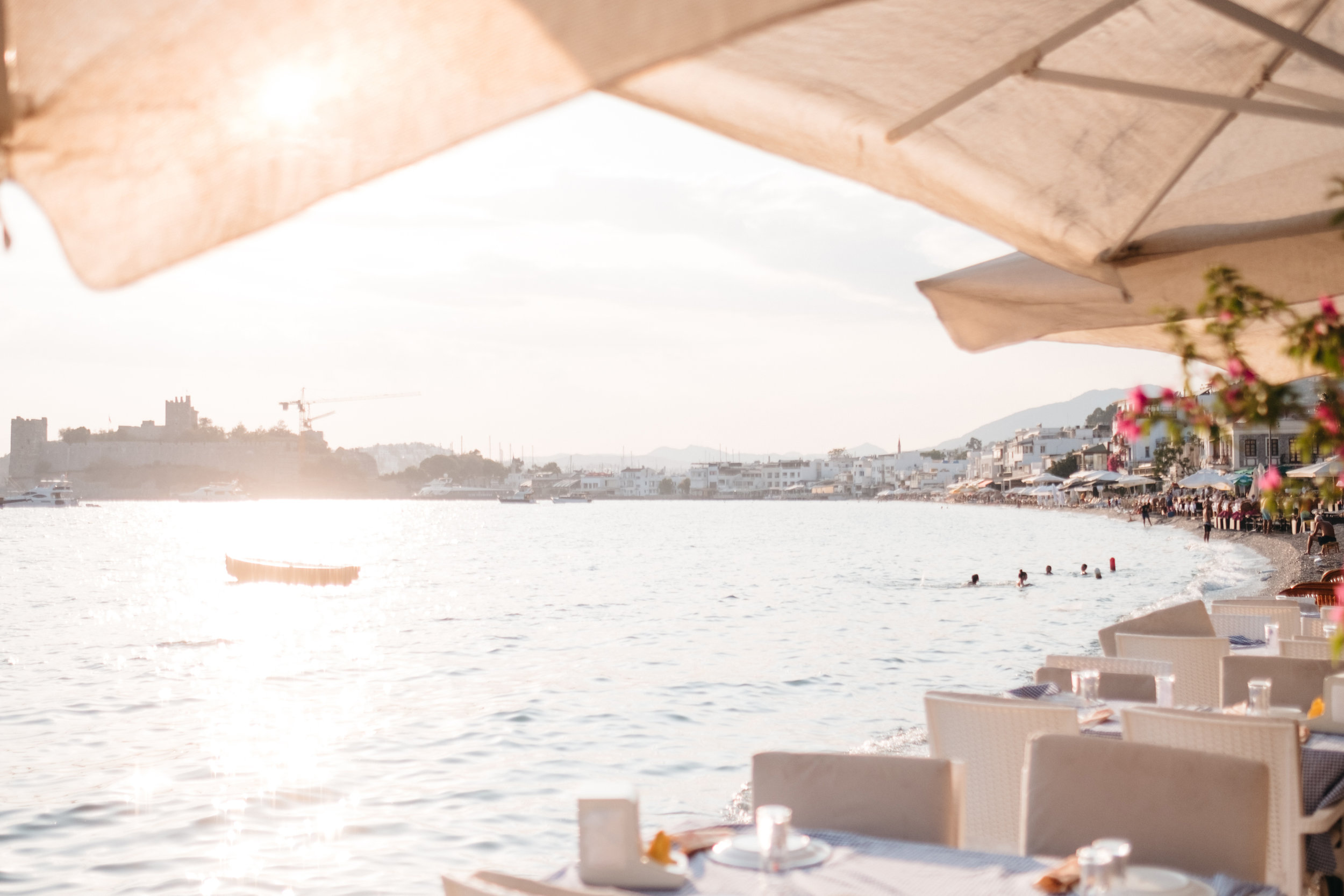 Late afternoon at the beach in Bodrum Turkey