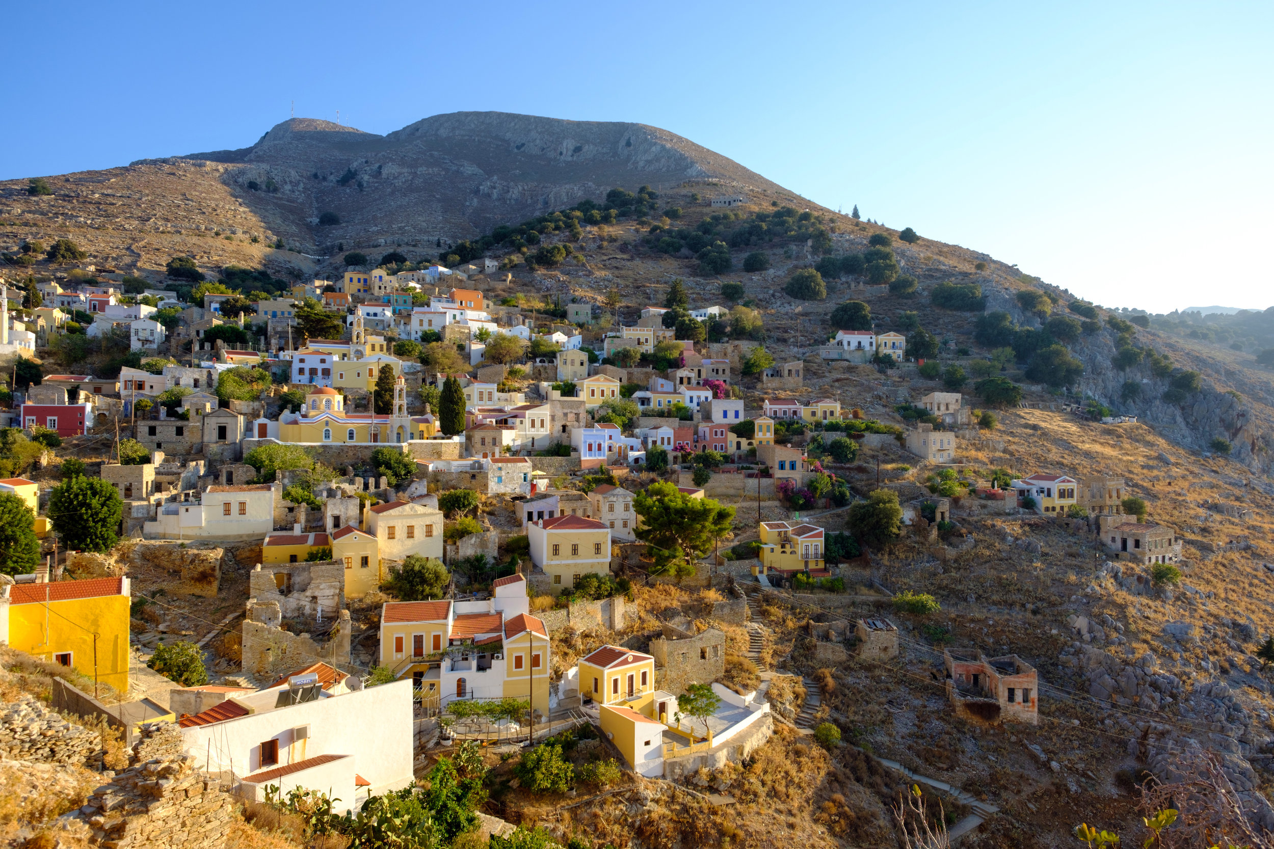 View of the the homes from above. The town of Symiin Greece