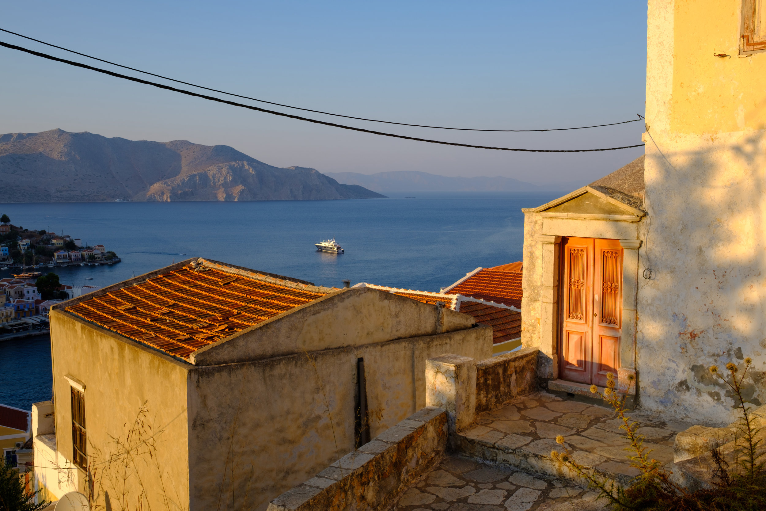 view of the ocean from the hills above symi in greece