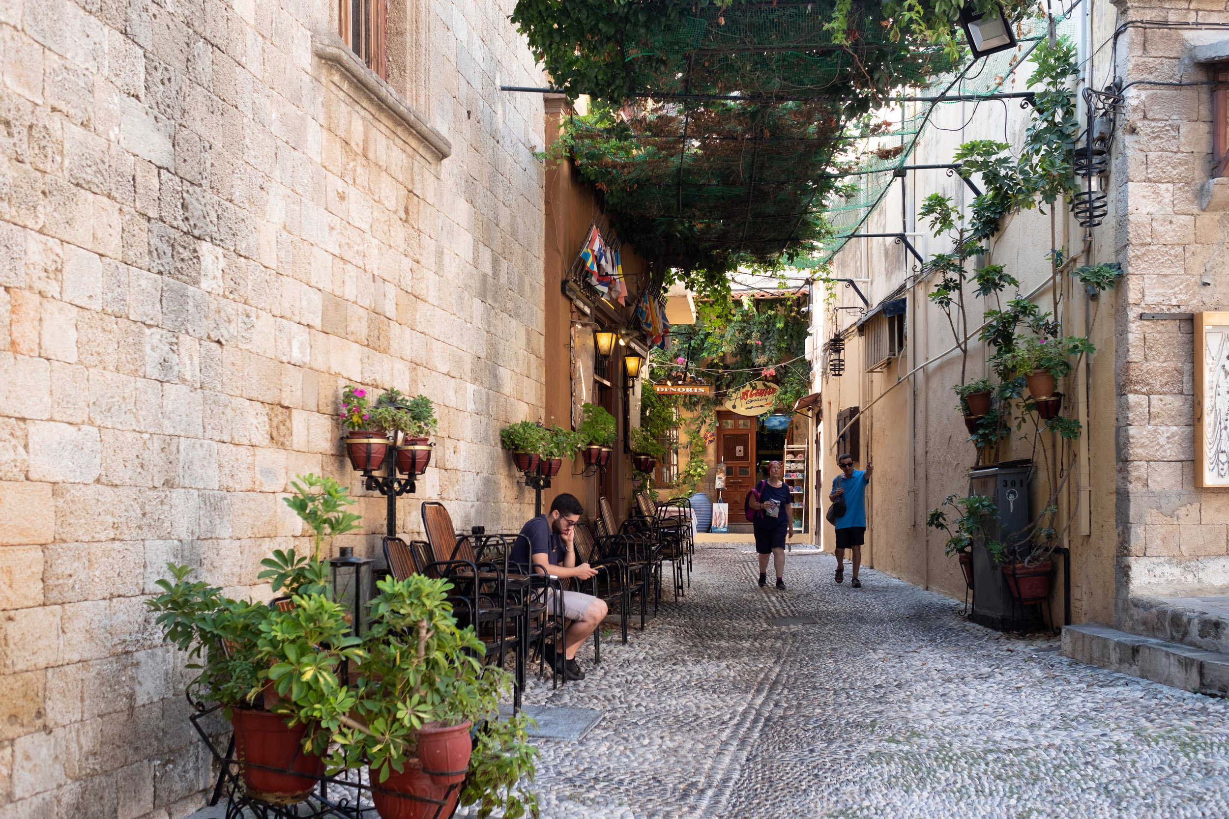 Narrow alleys in the old town Rhodes, Greece