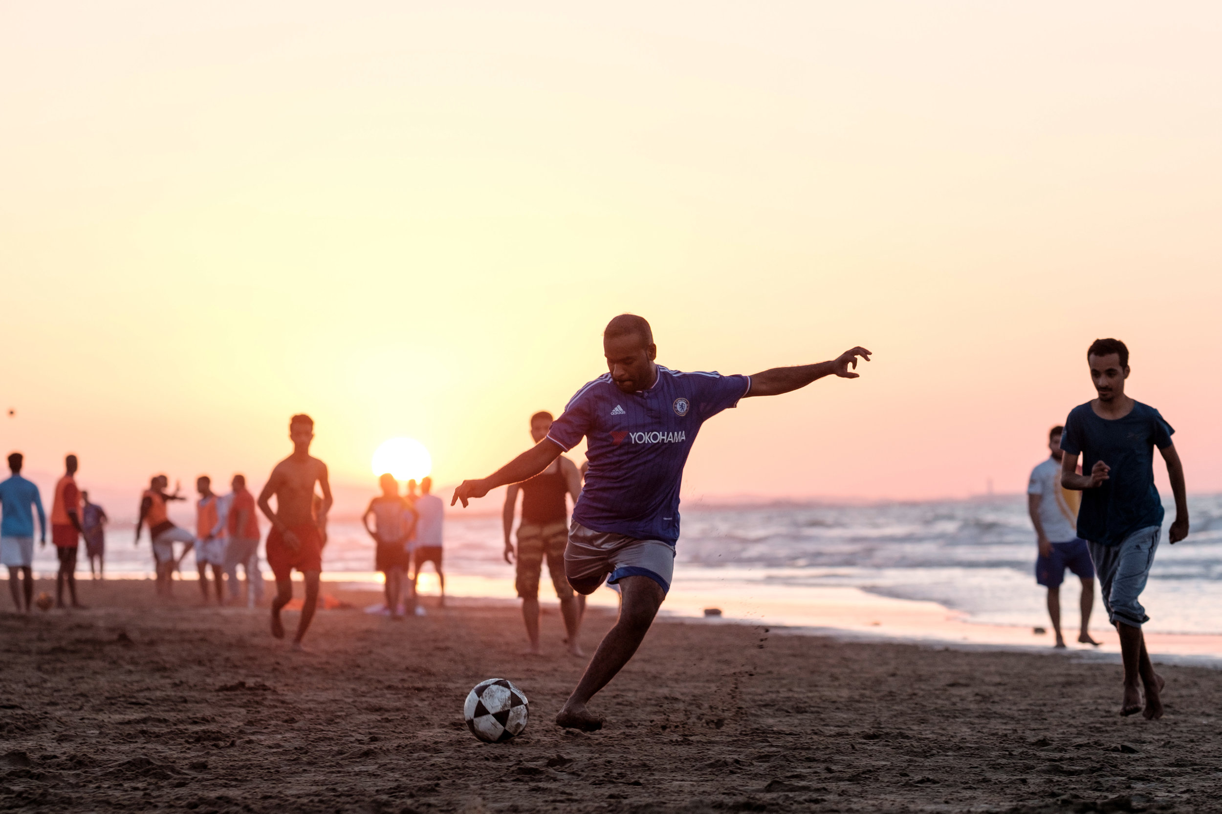 Soccer on the beach in Muscat