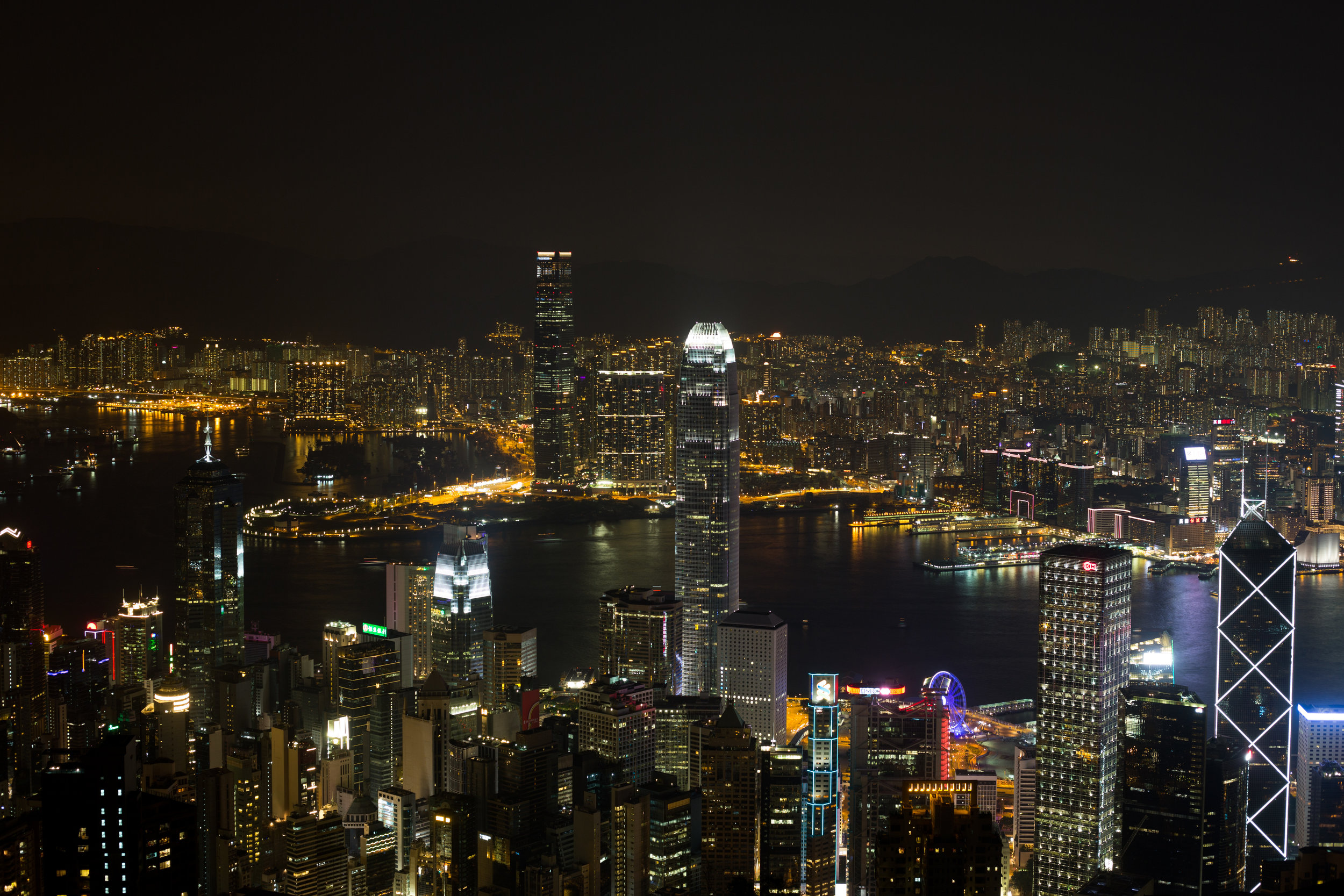 Nightime view of Hong Kong from The Peak