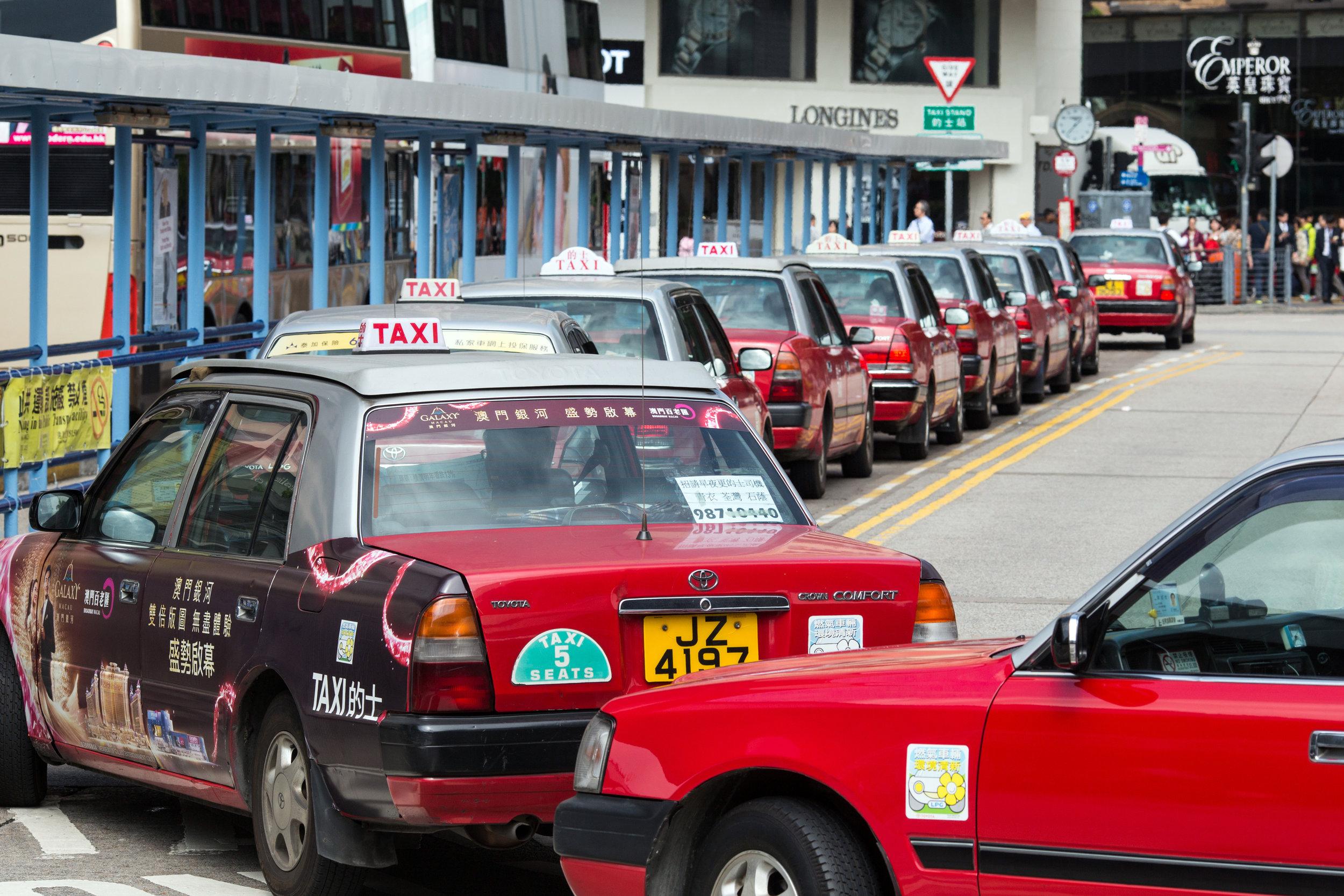 Taxis in Kowloon, Hong Kong