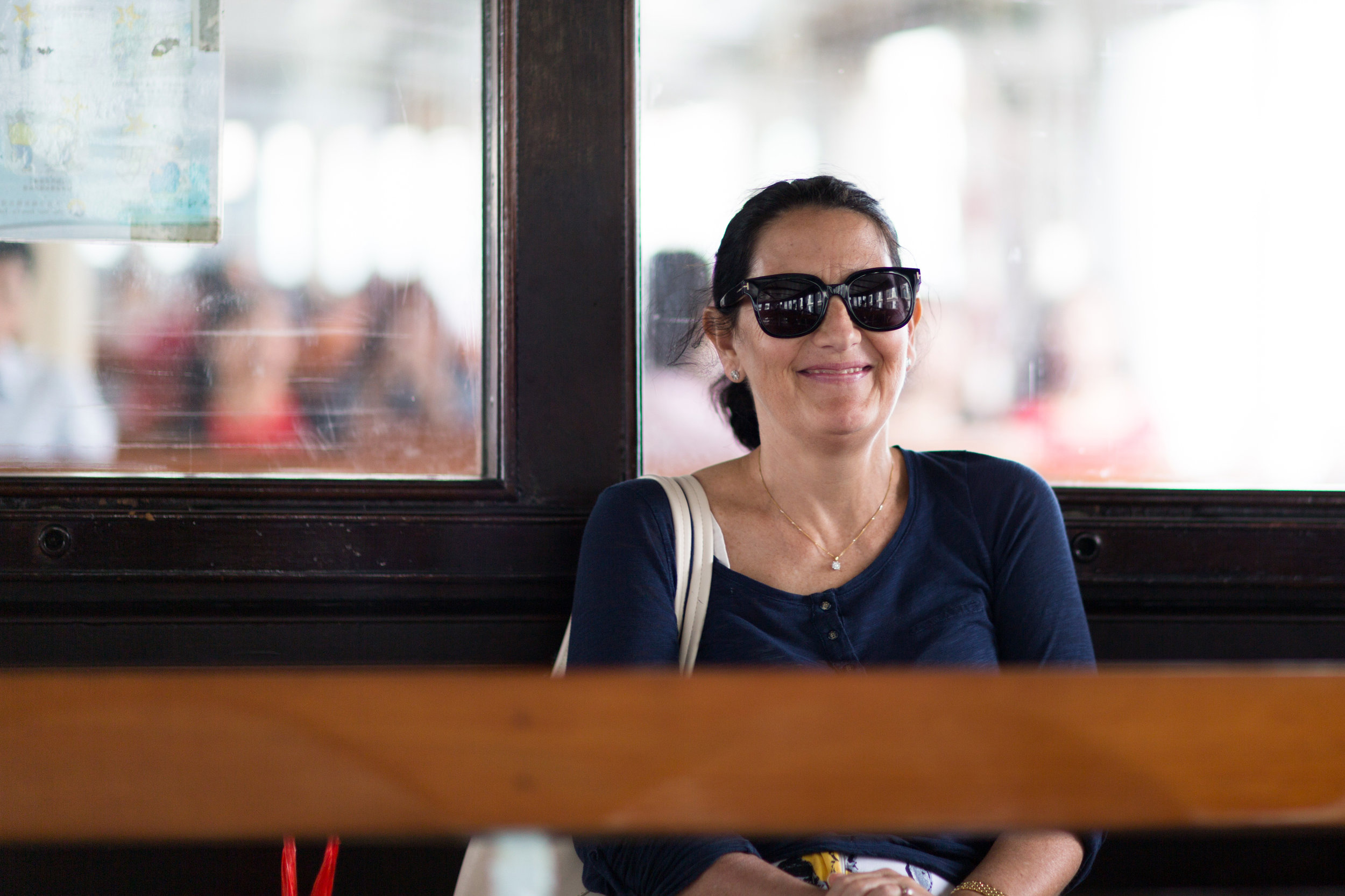 A woman on board the Star Ferry in Hong Kong