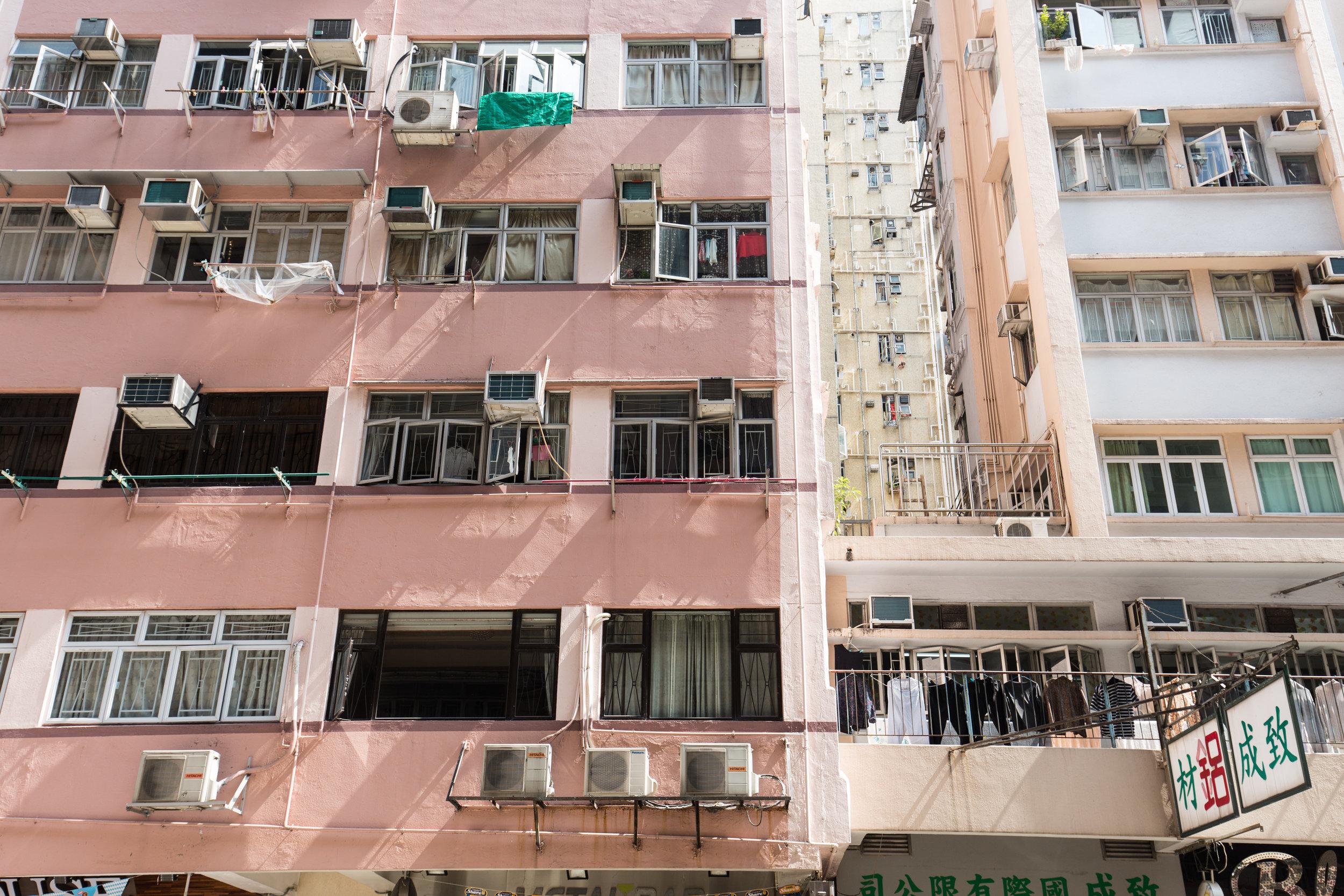 Residencial building above Fa Yuen Street in Mong Kok Hong Kong