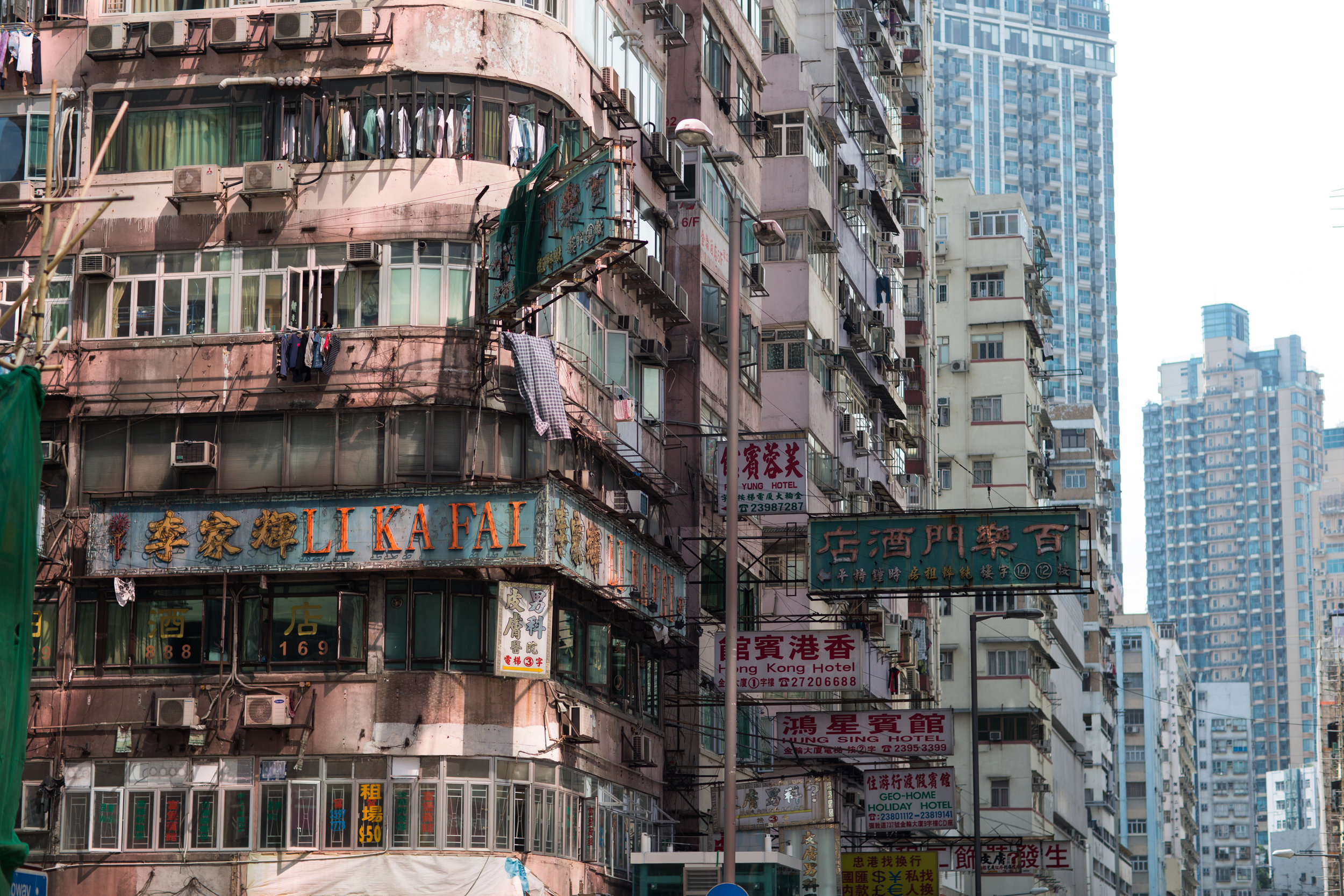 Apartment buildings above the busy commercial district of Mongkok in Hong Kong
