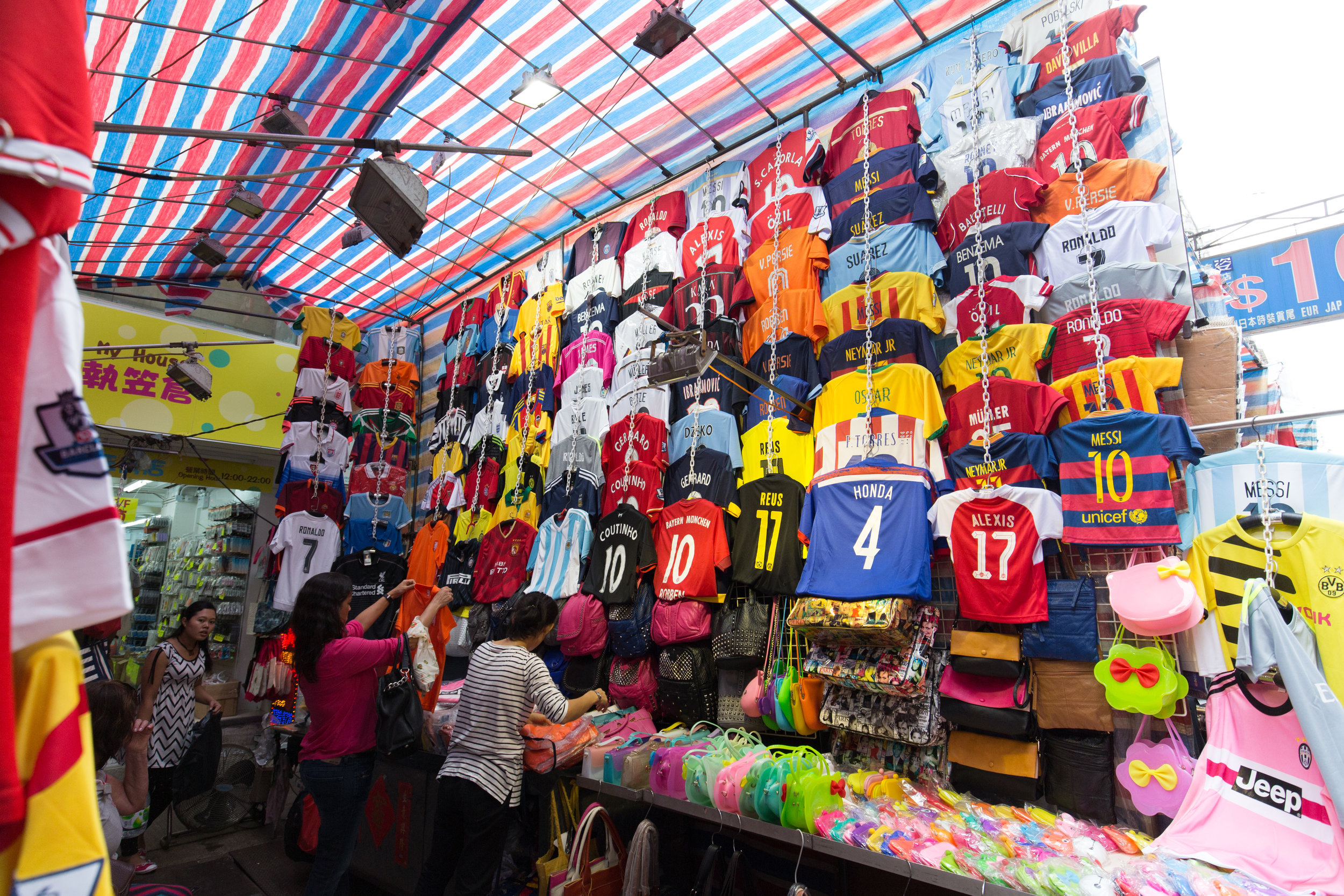 Team jerseys for sale at the Fa Yuen Street Market in Mongkok, Hong Kong