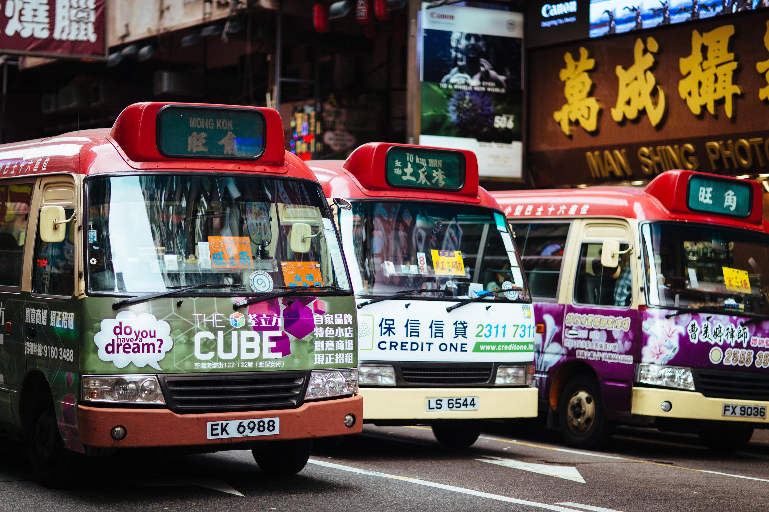 Bus Stop in Mong Kok, Hong Kong
