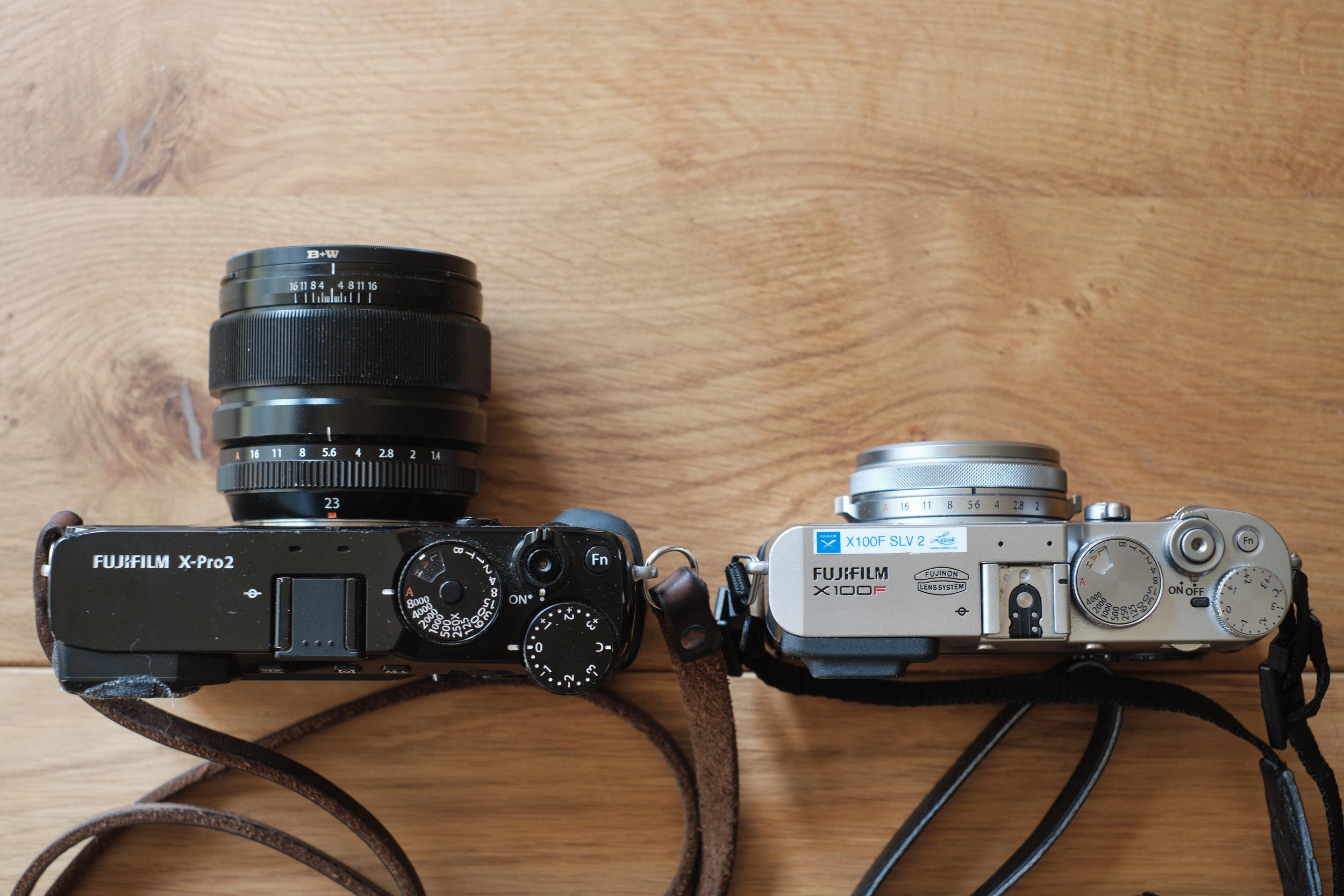 X-Pro2 vs. X 100F size comparison
