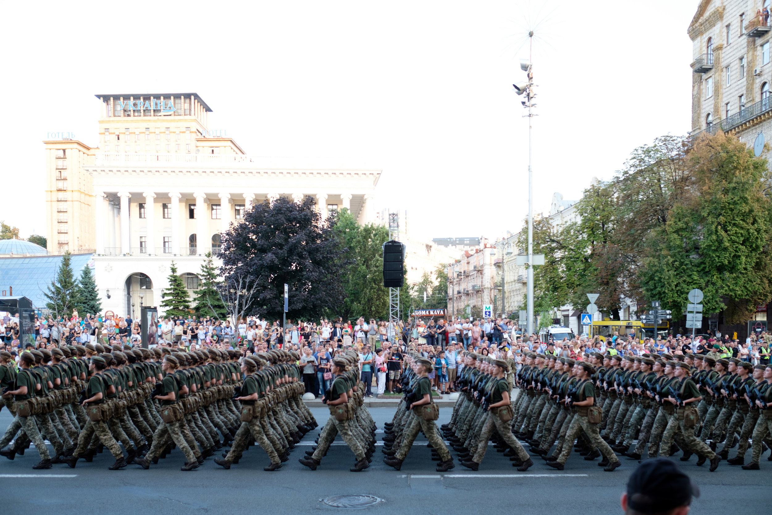 Military Parade at Victory Square in Kiev Ukraine