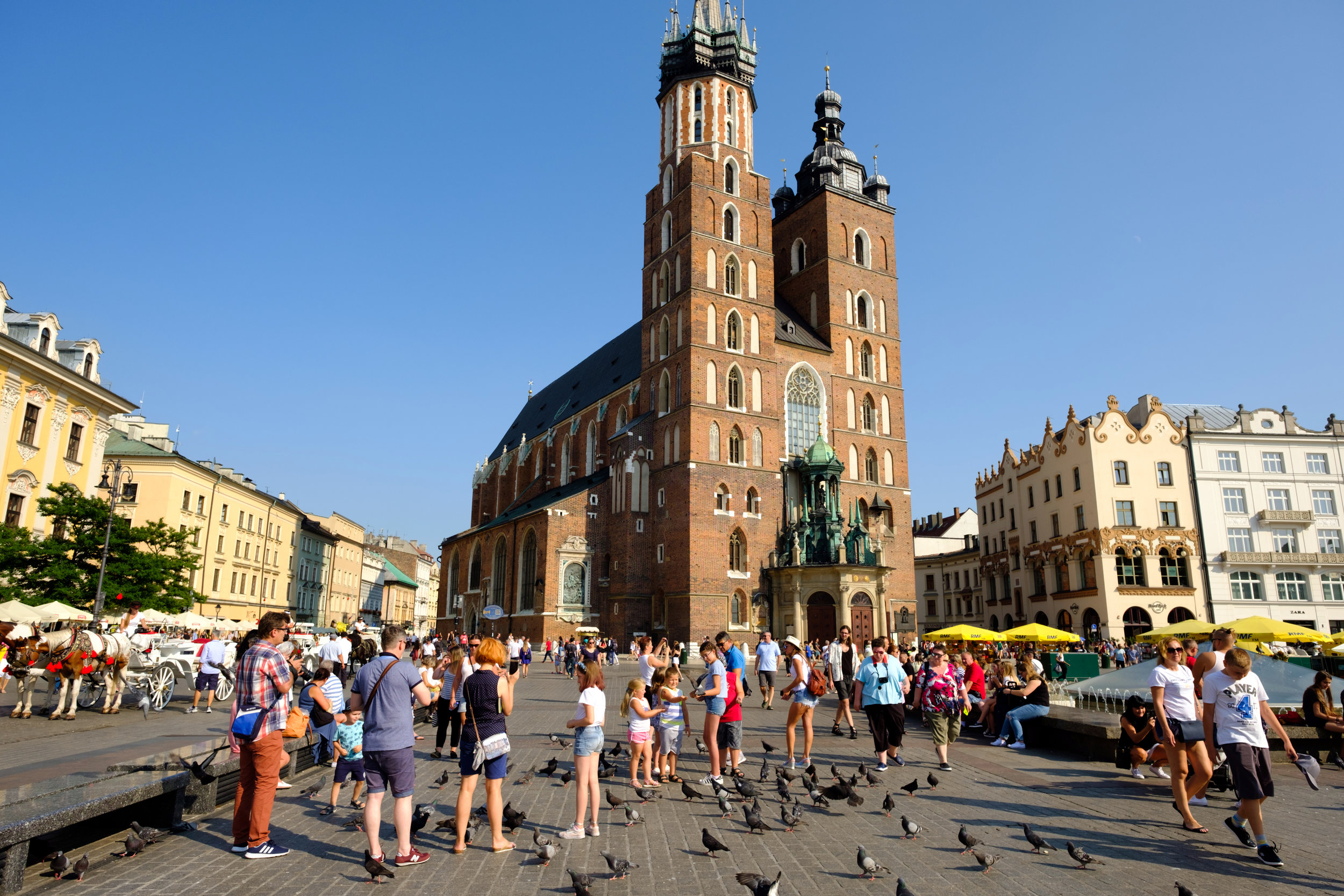 The Main Square and St. Mary's Basilica in Krakow