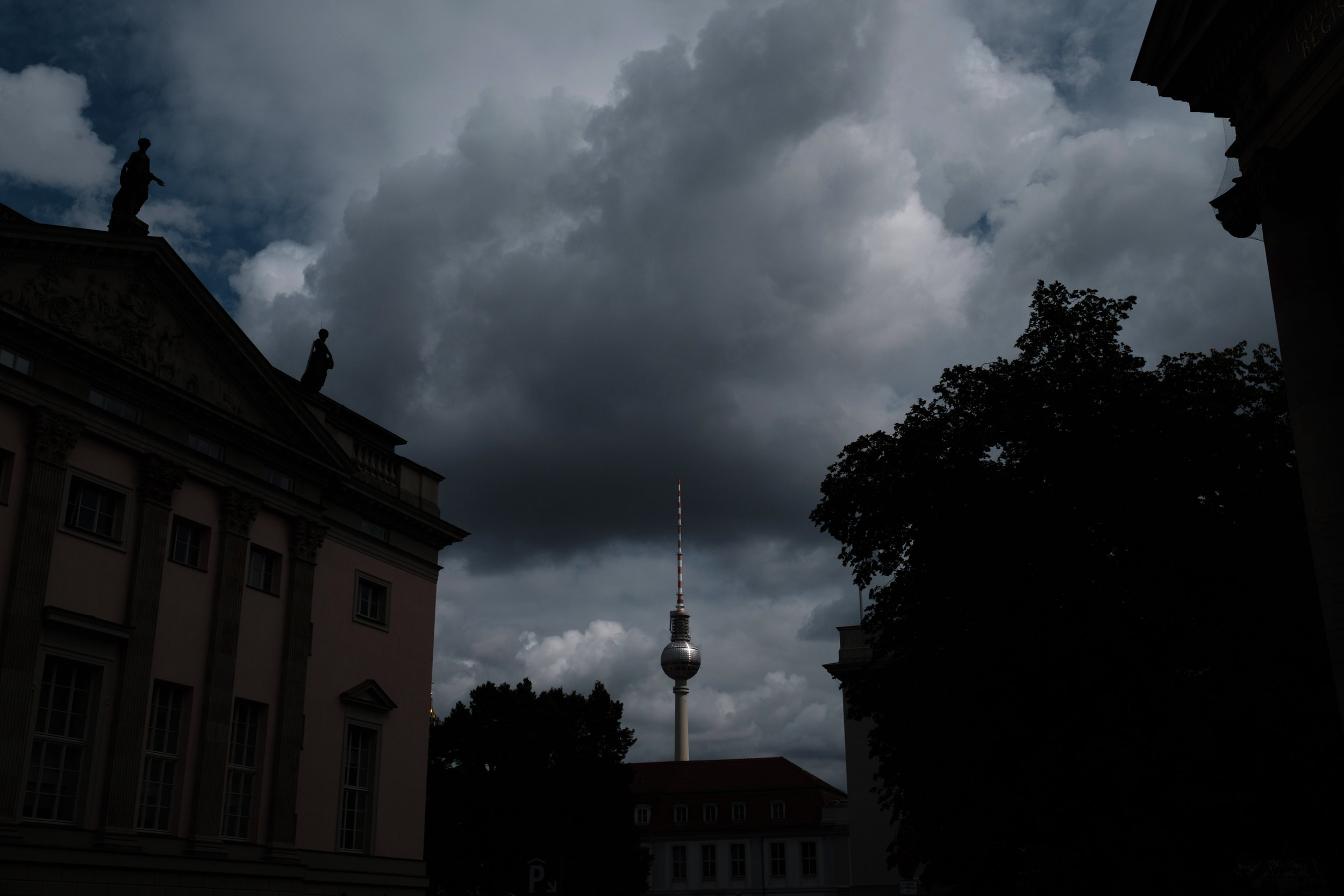 The iconic TV tower in Berlin on a gloomy August day