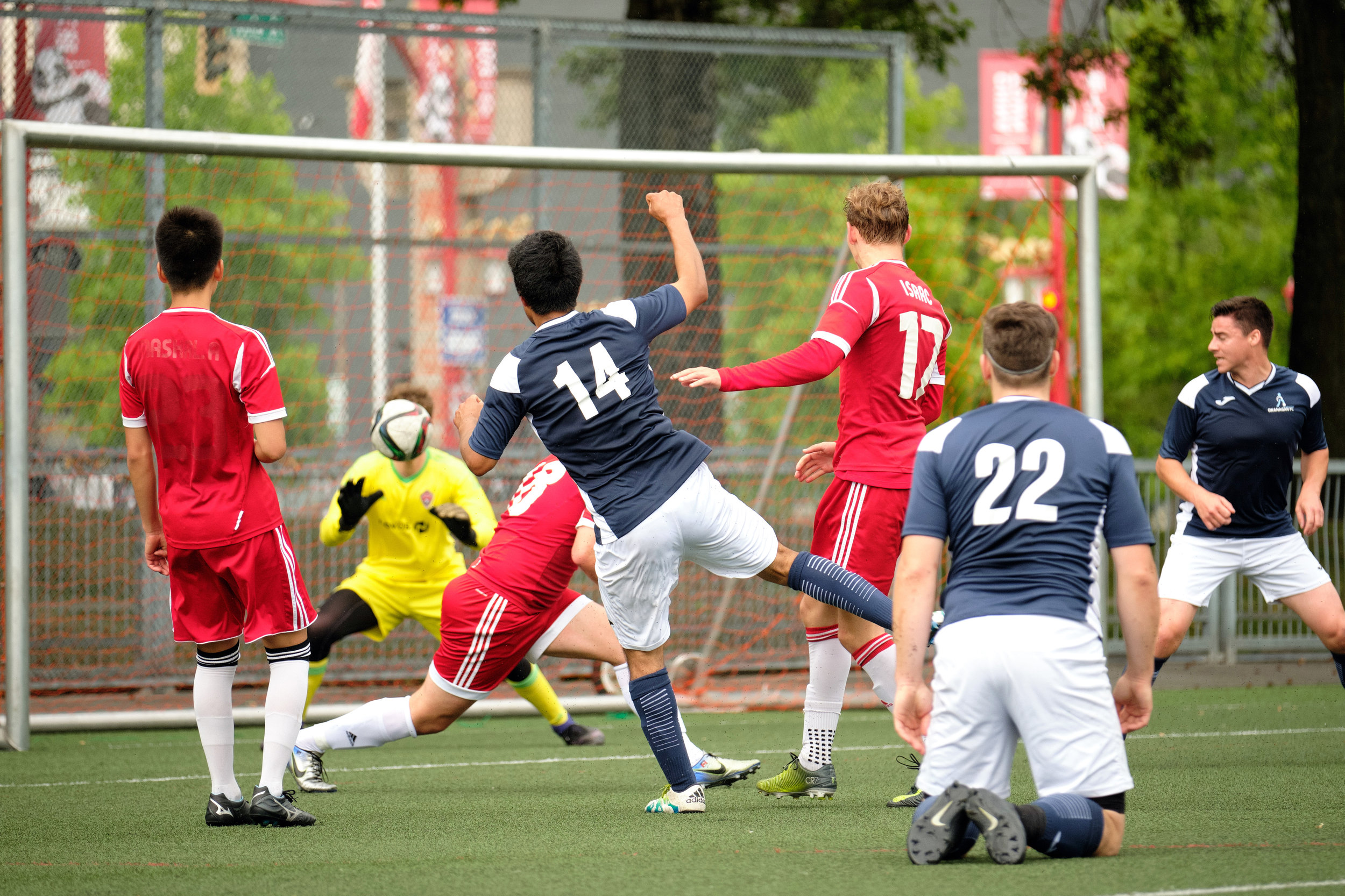 Pacific Coast Soccer League, Okanagan FC vs. Tigers FC, Vancouver. At Trillium Park Vancouver