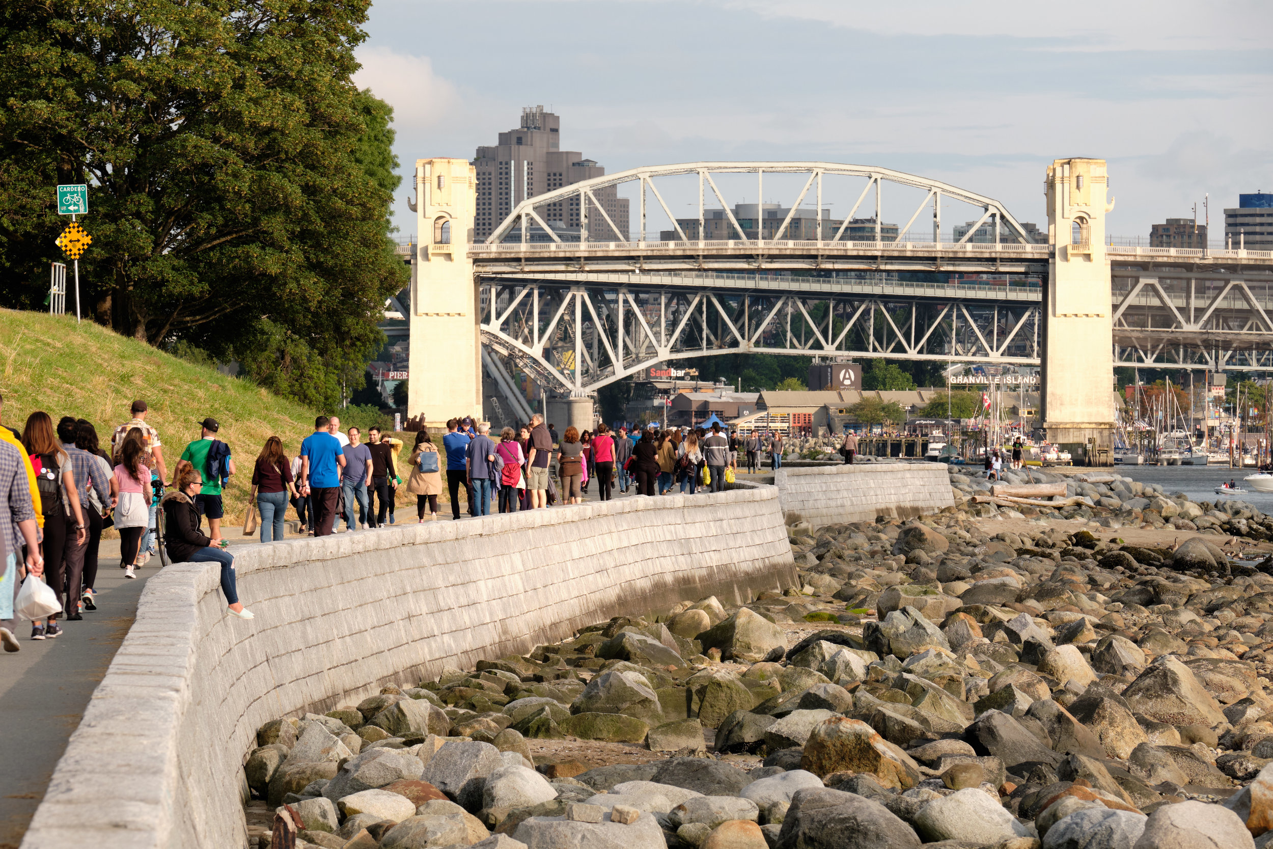 Stanley Park Seawall at English Bay and Burrard Street Bridge in Vancouver