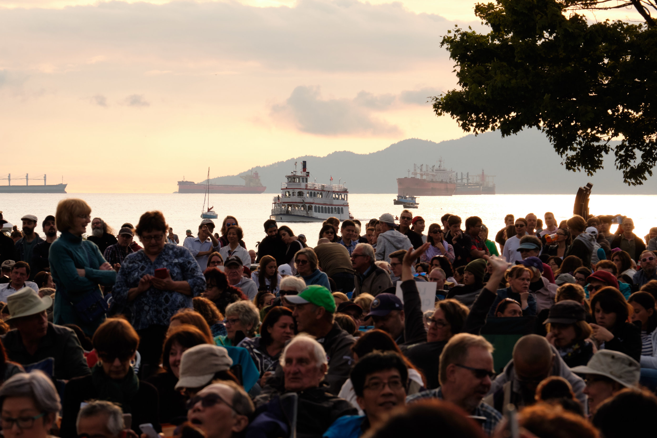 Spectators at Sympohy at Sunset event in Vancouver, BC, Canada